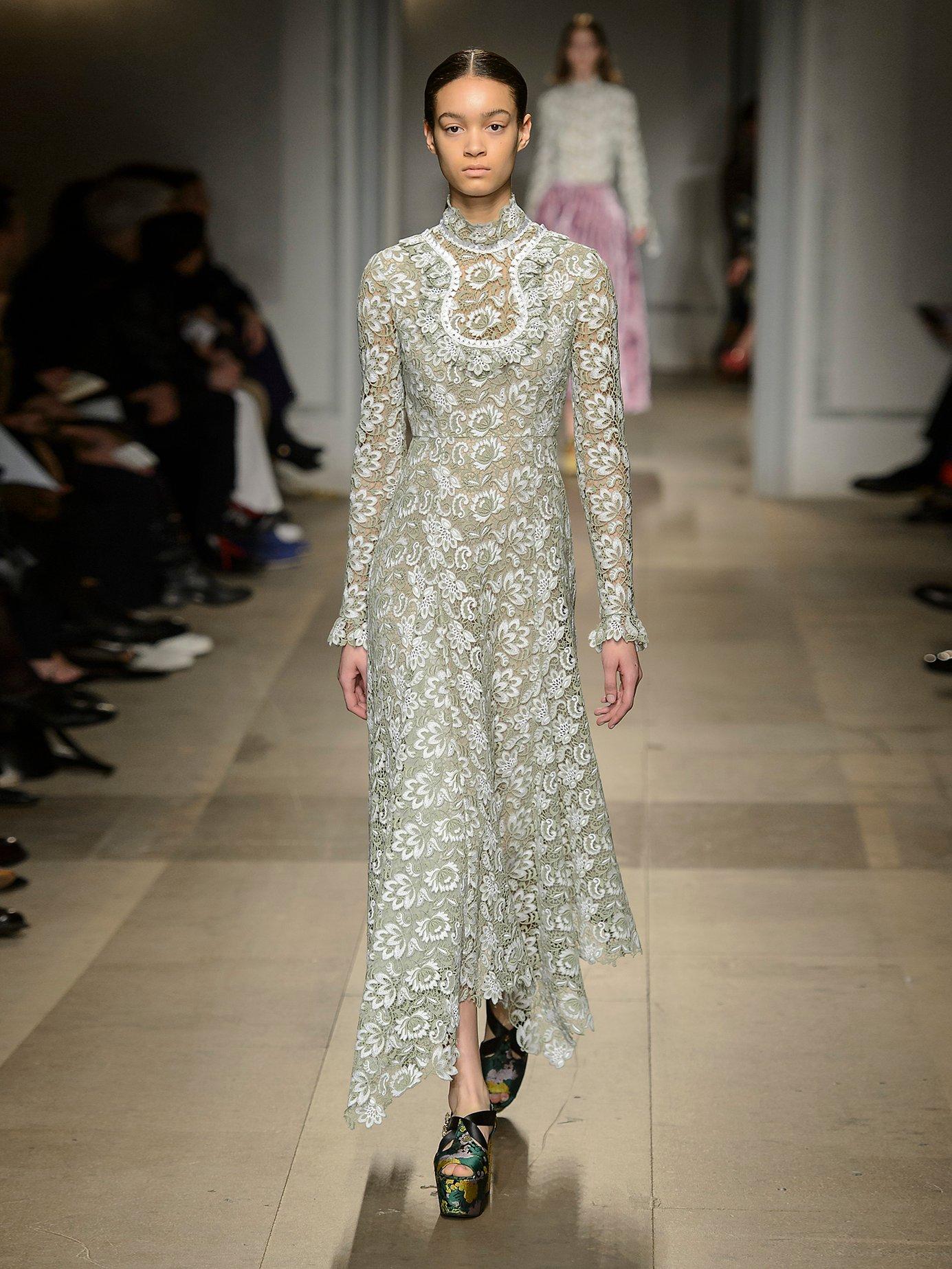 Shen high-neck floral guipure-lace dress by Erdem