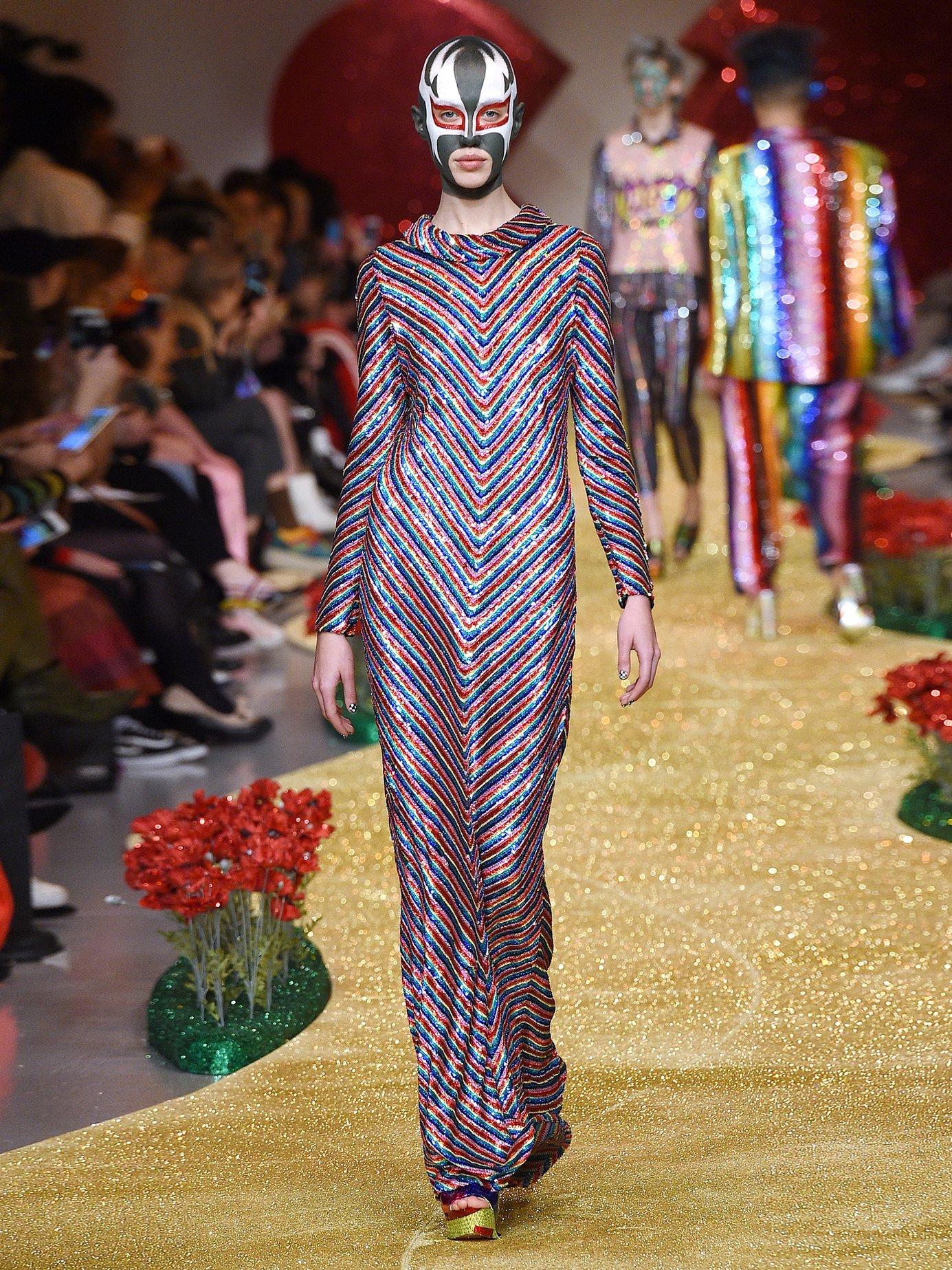 Rainbow-striped sequin-embellished silk maxi dress by Ashish