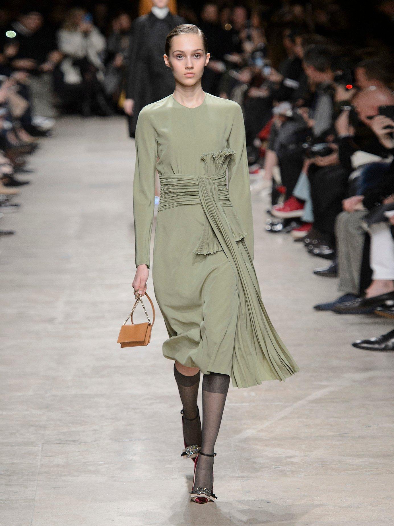Pleated-drape silk crepe de Chine dress by Rochas