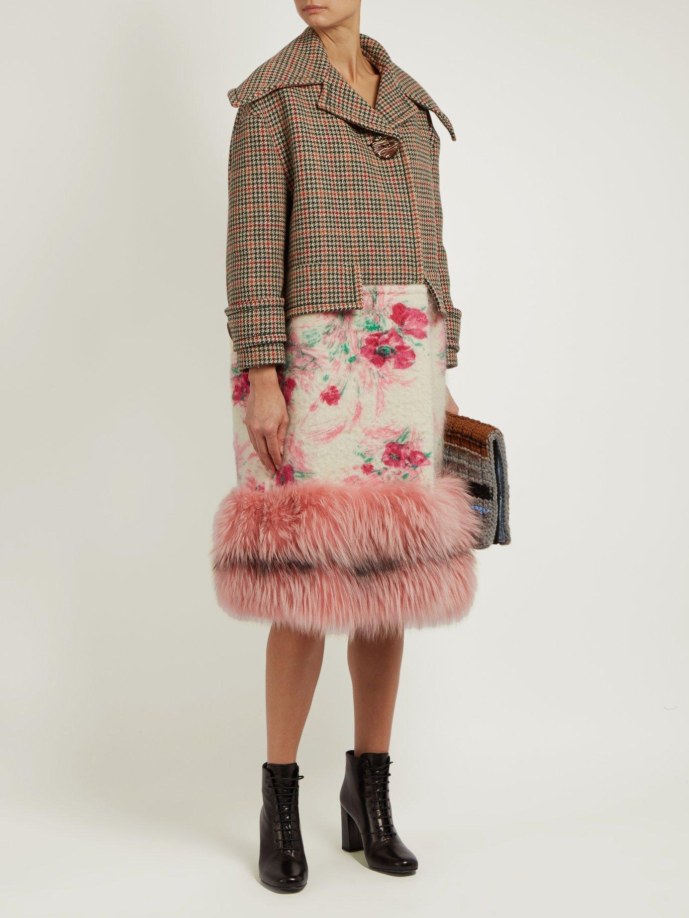 Fur-hem contrast-panel coat by Prada