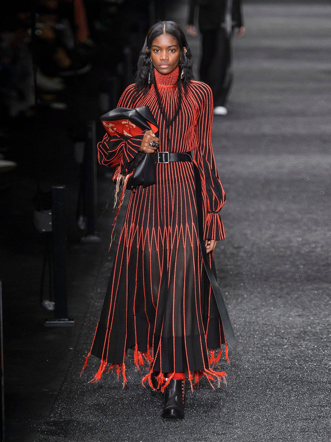 Contrast-stitching high-neck silk dress by Alexander Mcqueen