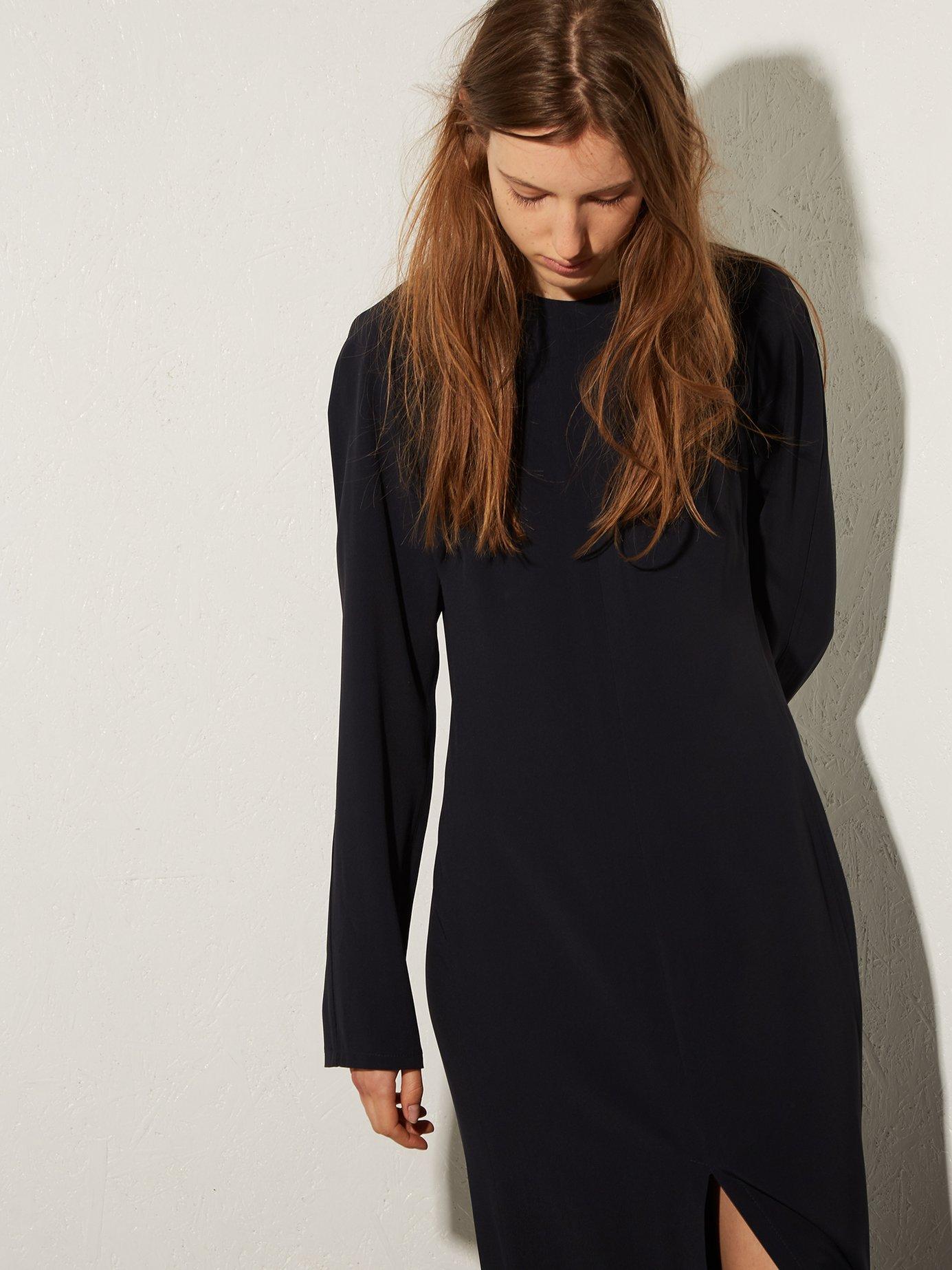 Long-sleeved split-front crepe midi dress by Raey