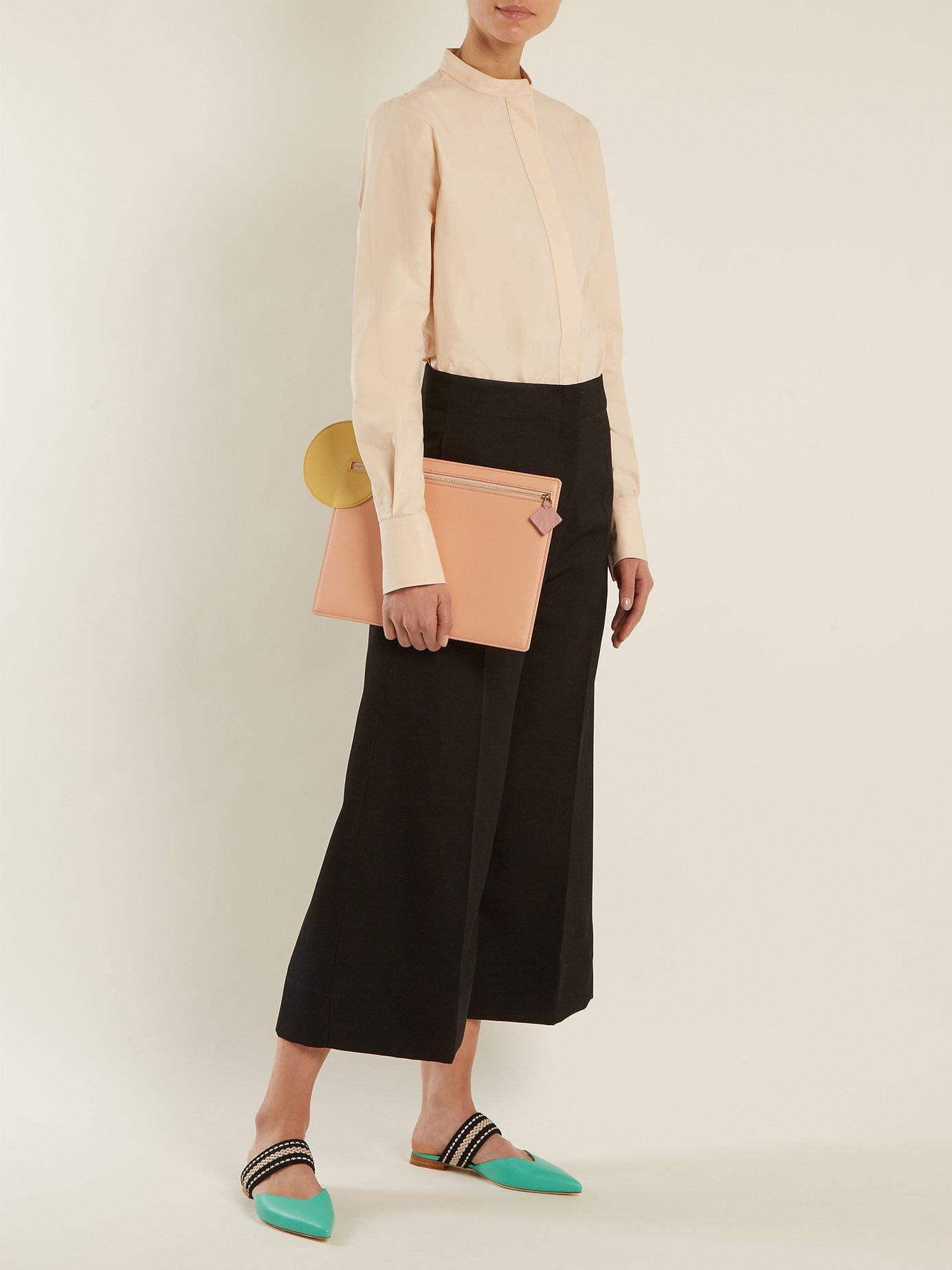 X Roksanda Hannah leather backless flats by Malone Souliers