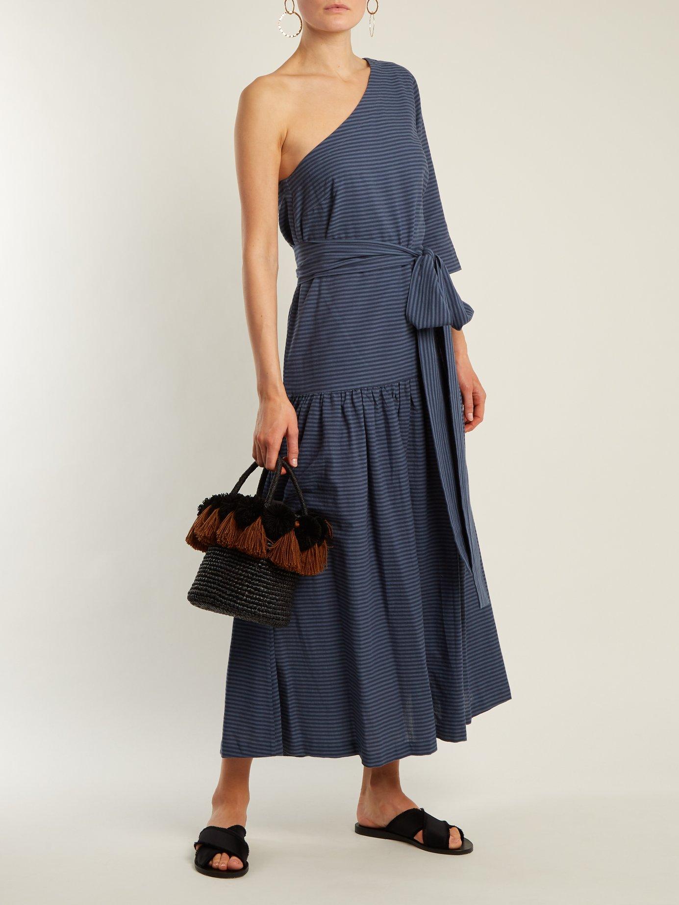 Sam one-shoulder striped cotton dress by Mara Hoffman