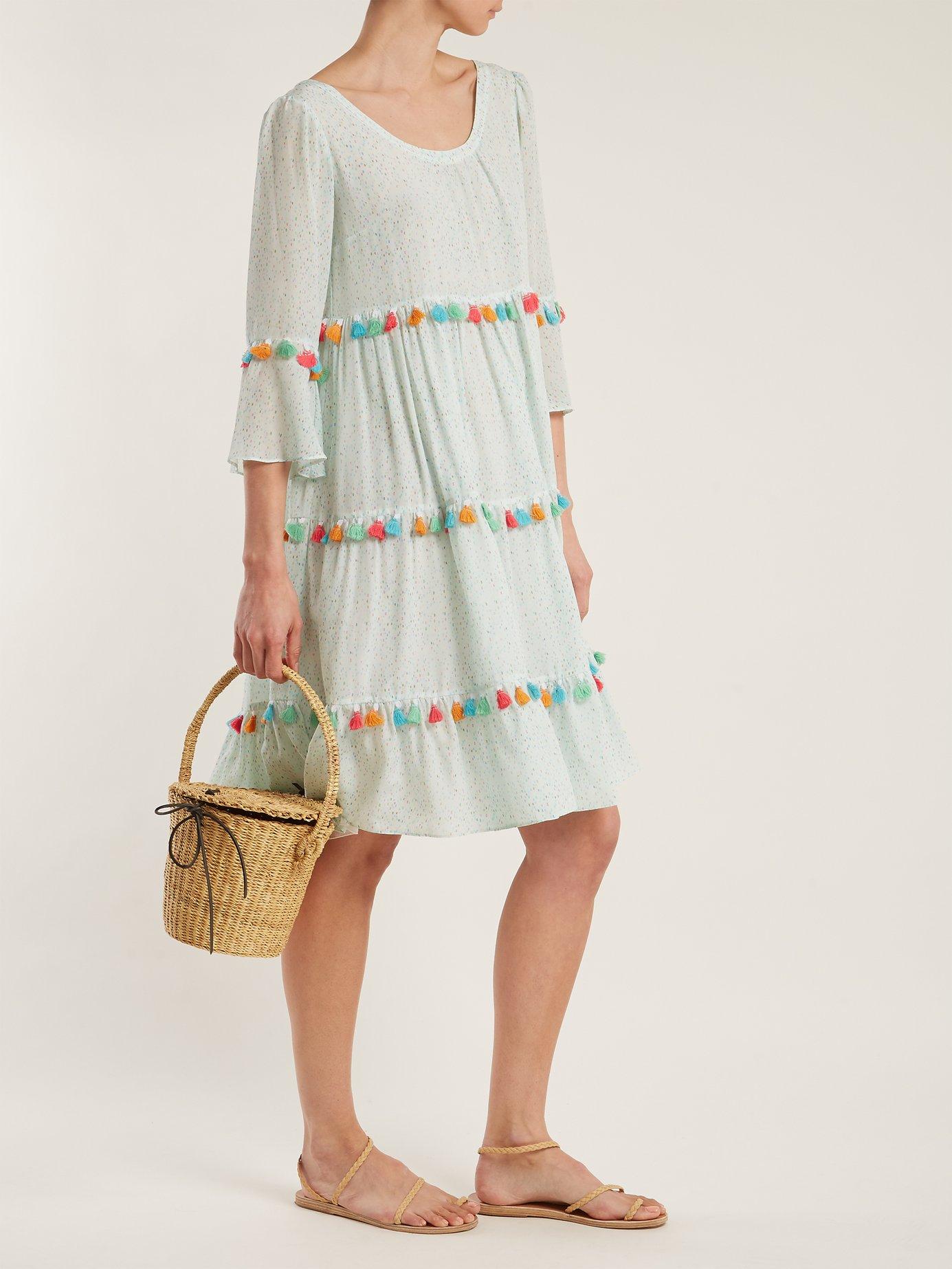 Spring Rainbow tassel-trimmed tiered silk dress by Athena Procopiou