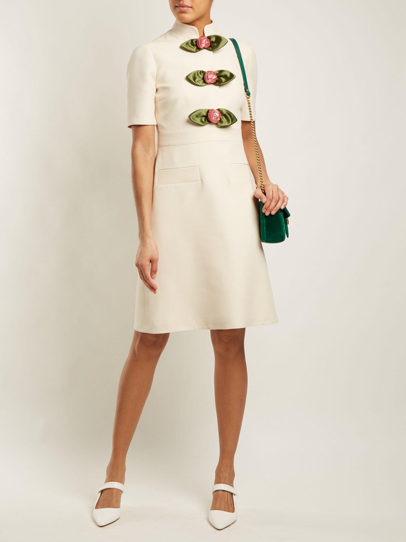 Rose-embellished high-neck wool-blend dress by Gucci