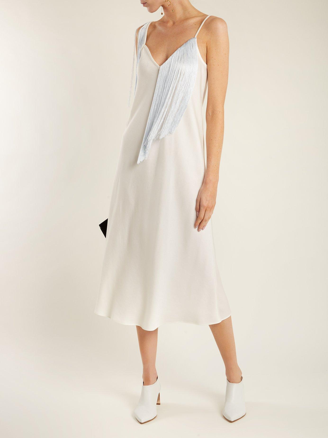 Fandango V-neck fringed crepe midi slip dress by Ellery