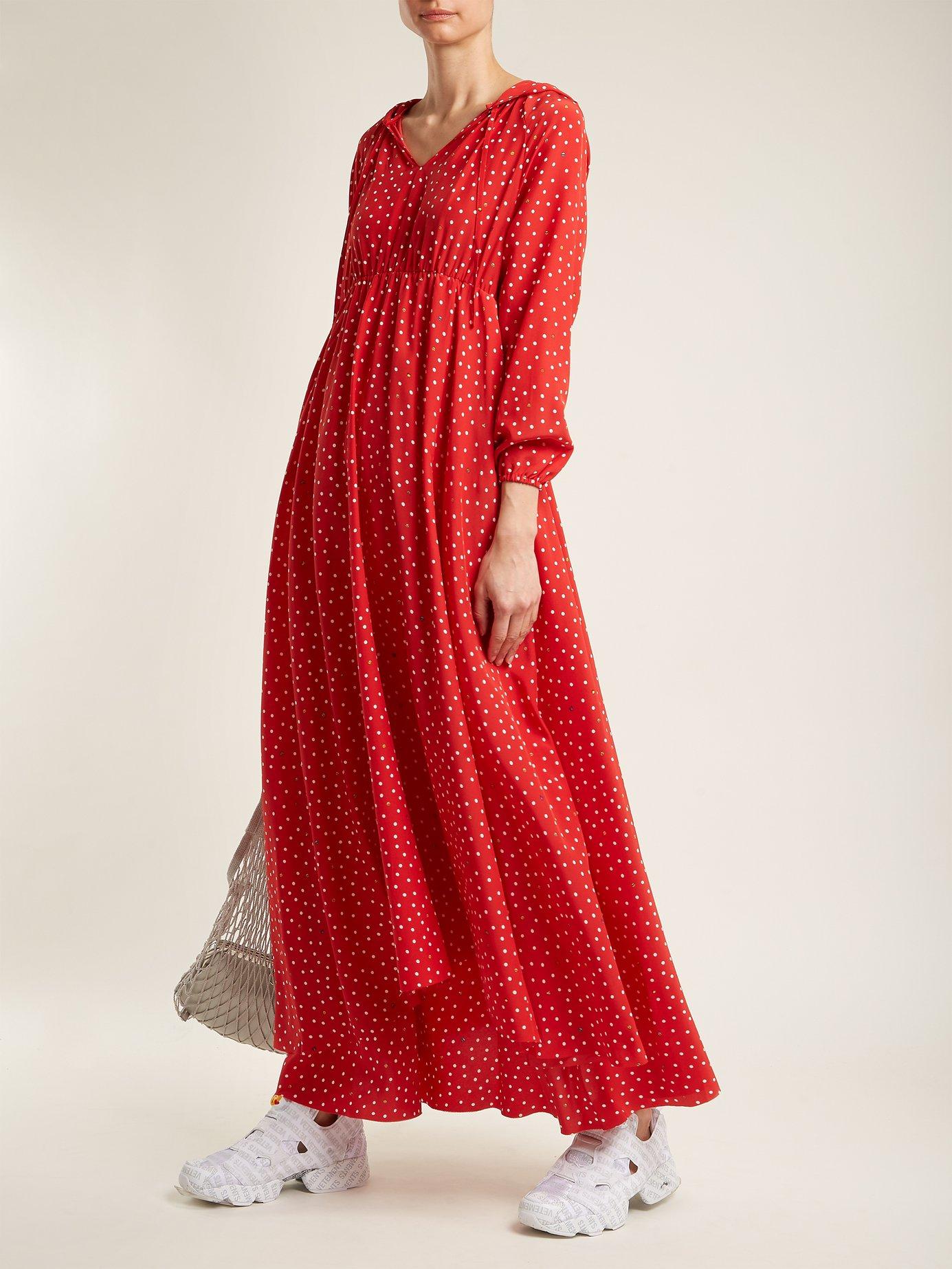 Polka-dot and Emjoi-print hooded silk dress by Vetements
