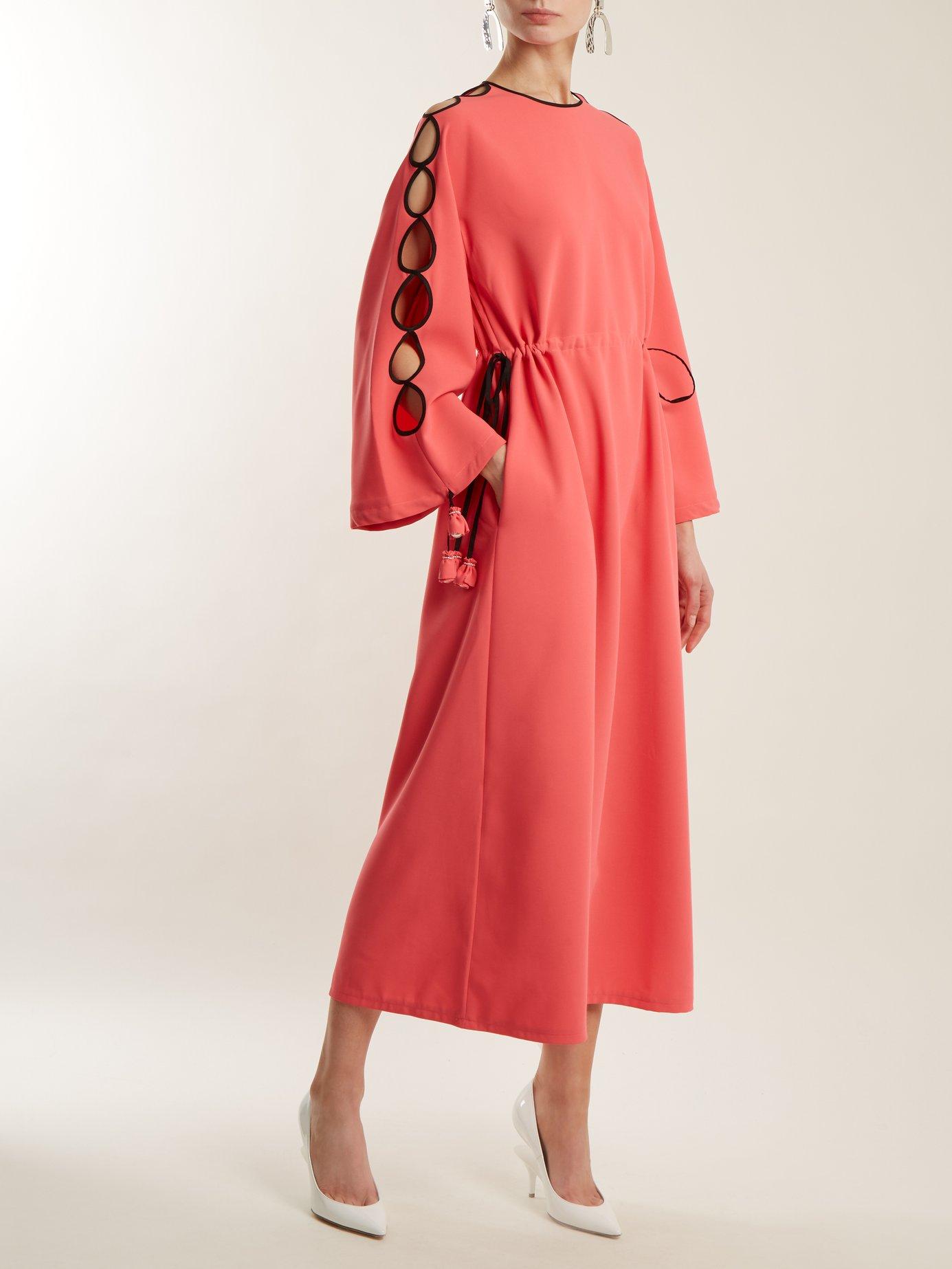 Drawstring-waist cut-out detail midi dress by Huishan Zhang