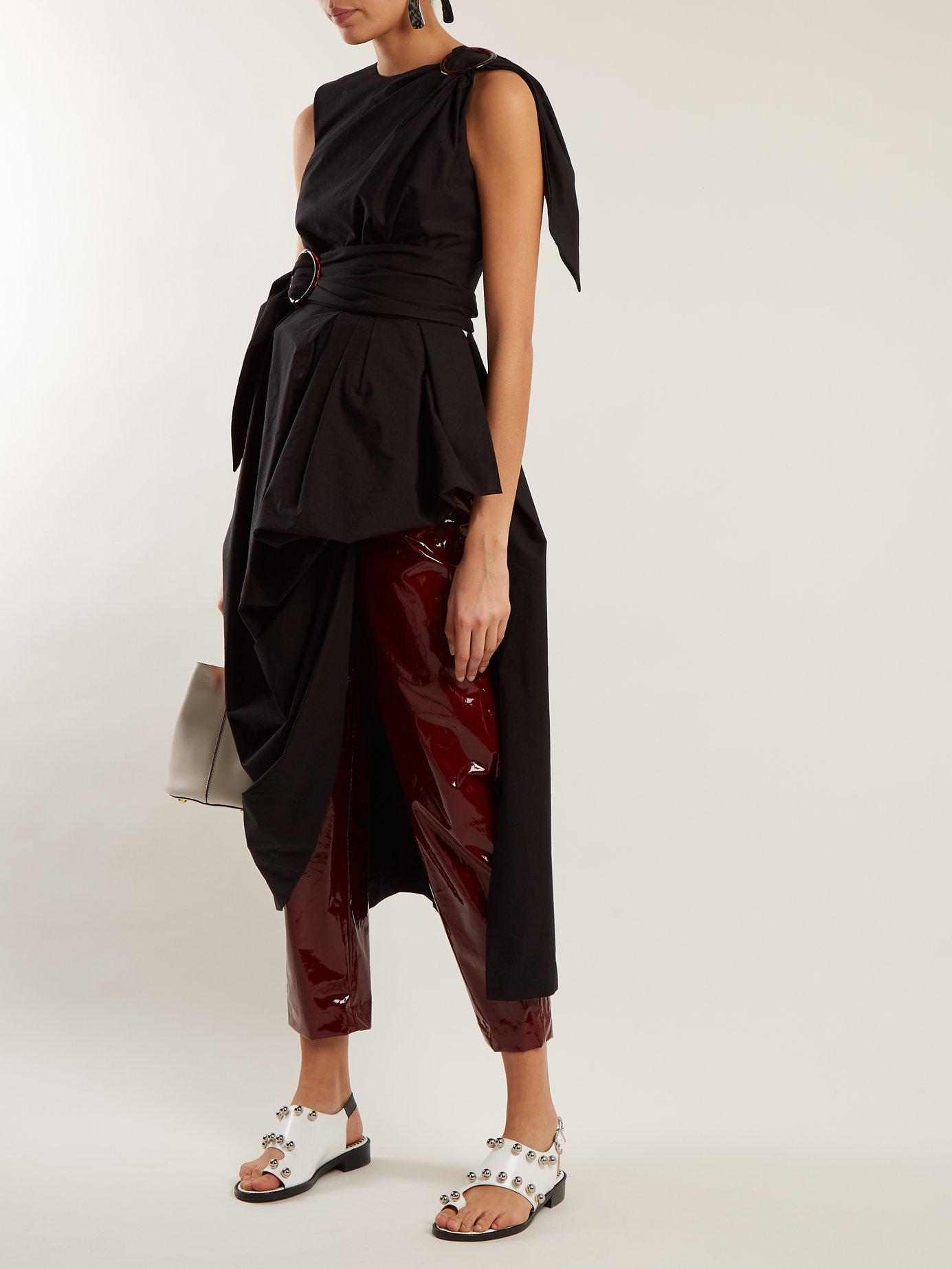 Asymmetric-hem draped cotton-poplin top by Isa Arfen