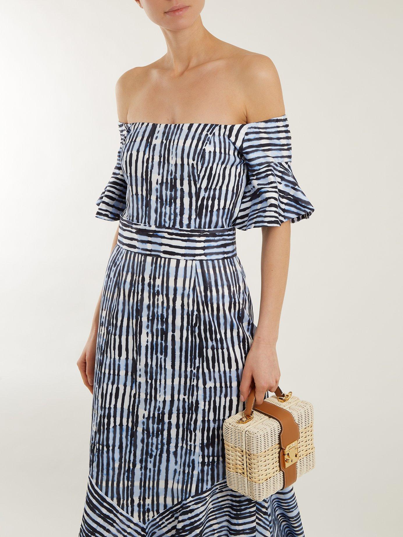 Fantasy batik-striped print cotton-blend dress by Goat