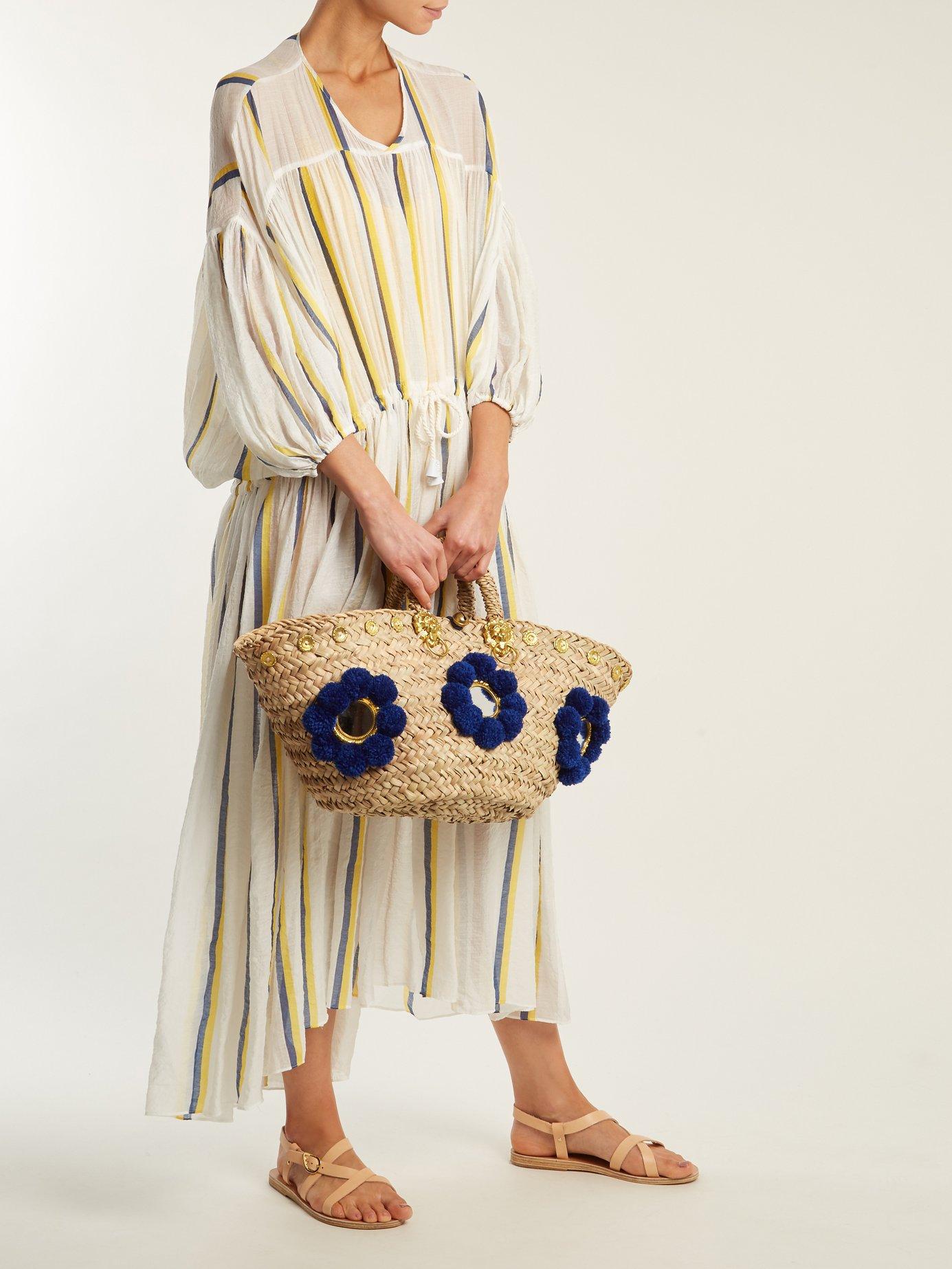 Dropped shoulder striped cotton dress by Love Binetti