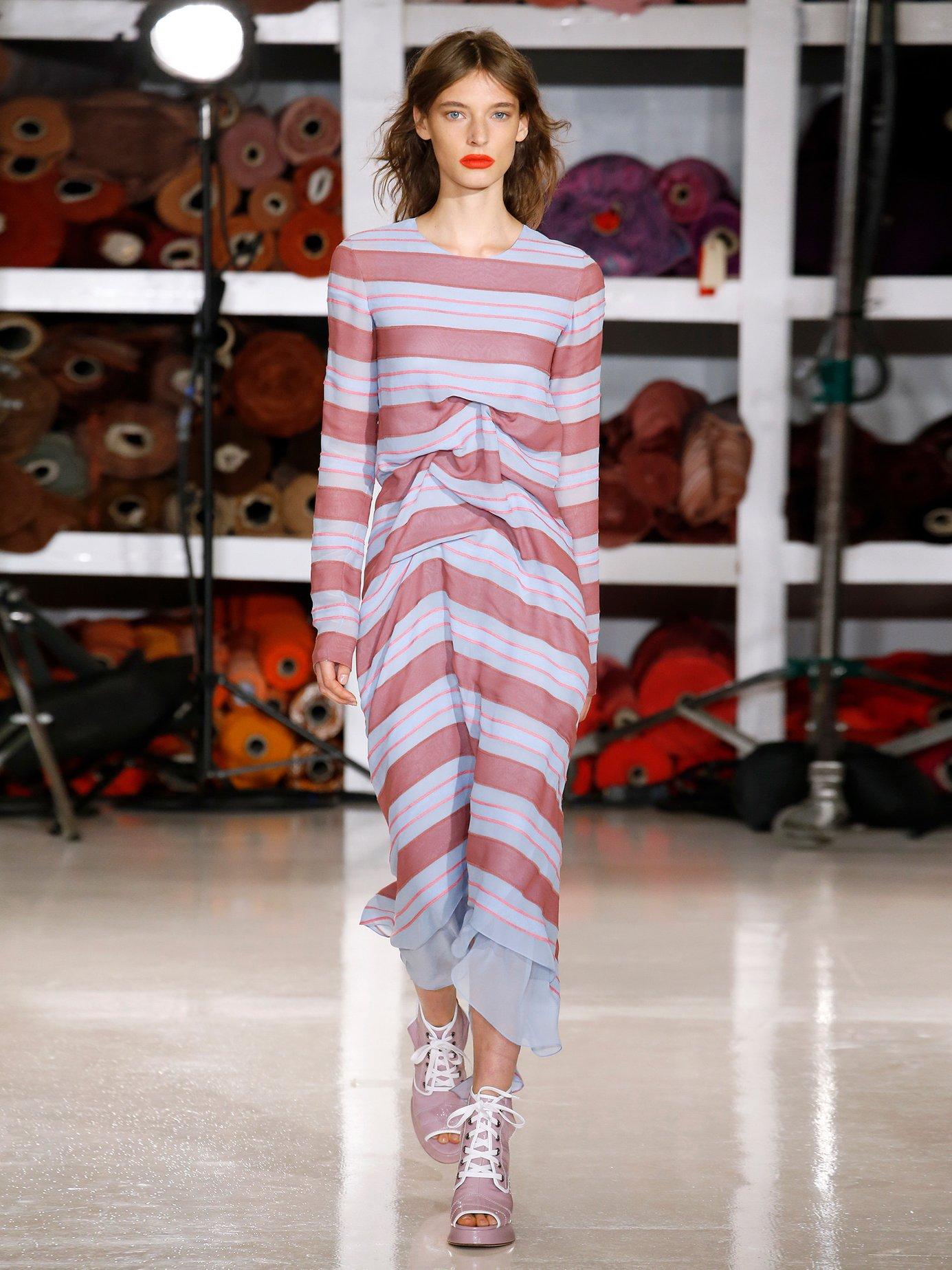 Elodie striped-jacquard silk dress by Sies Marjan