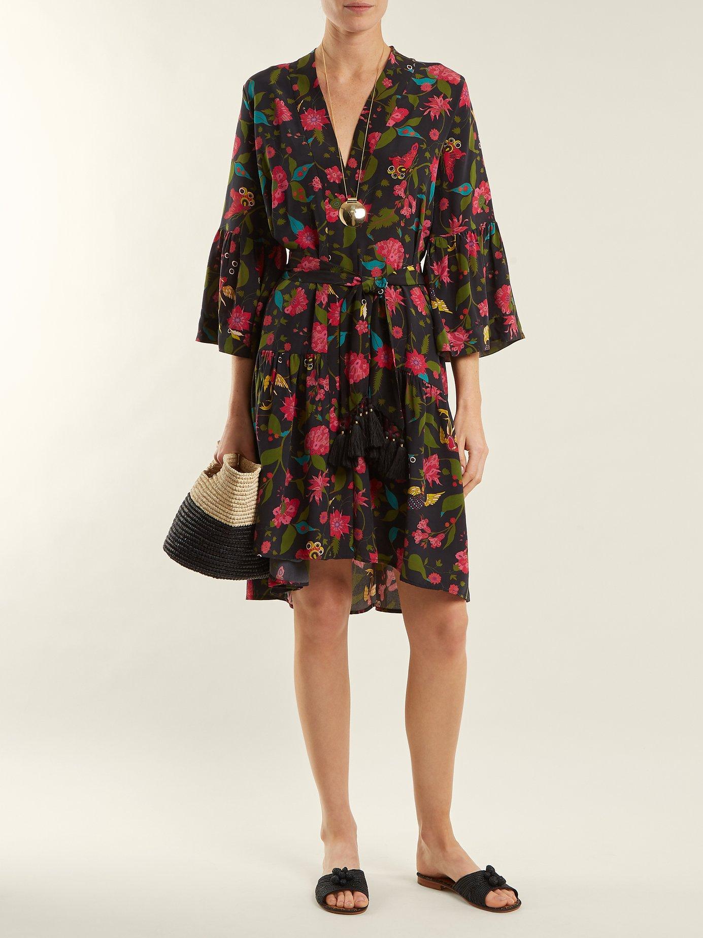 Caroline floral-print silk wrap dress by Figue