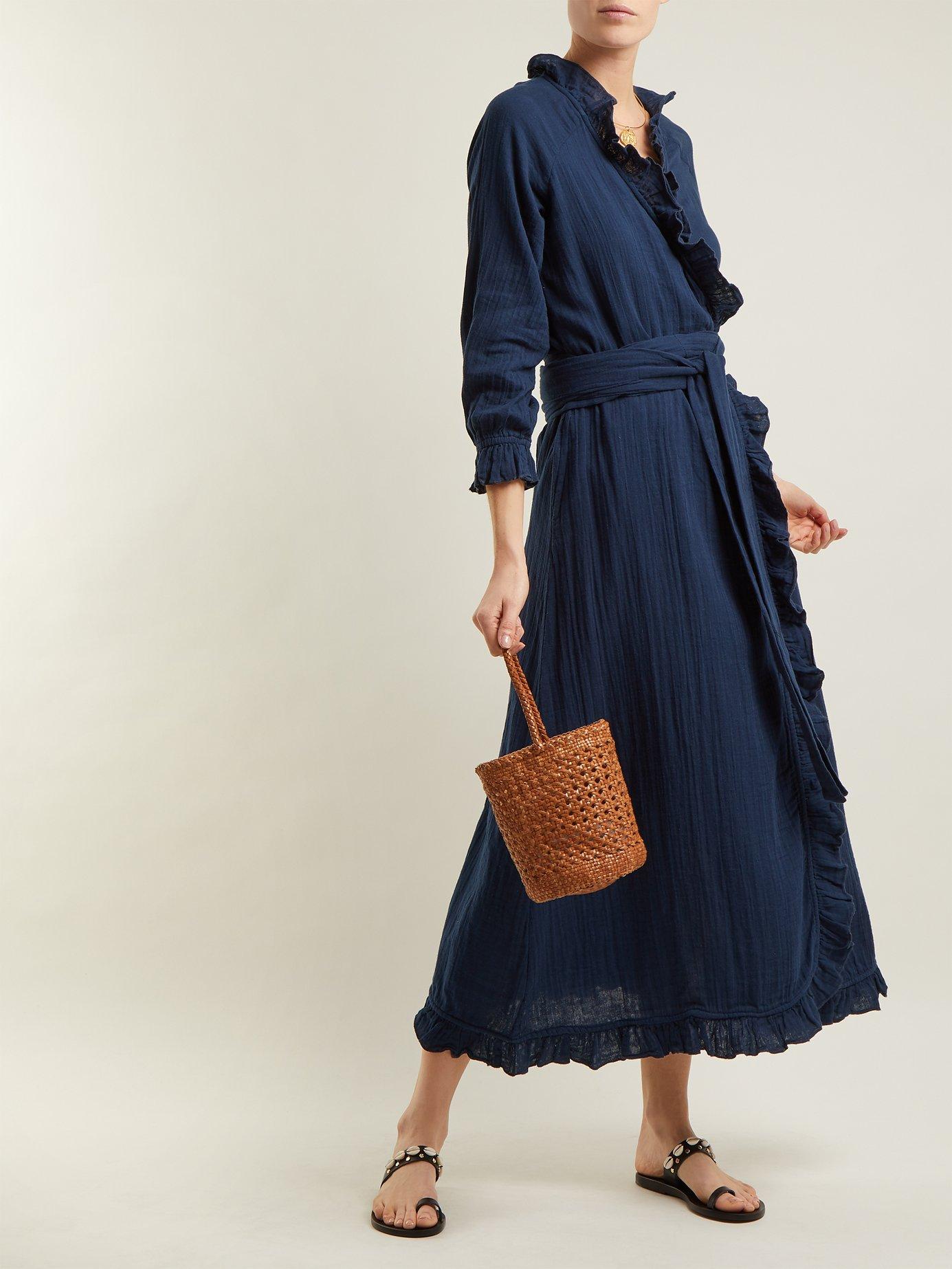 Jagger ruffle-trimmed cotton wrap dress by Rhode Resort