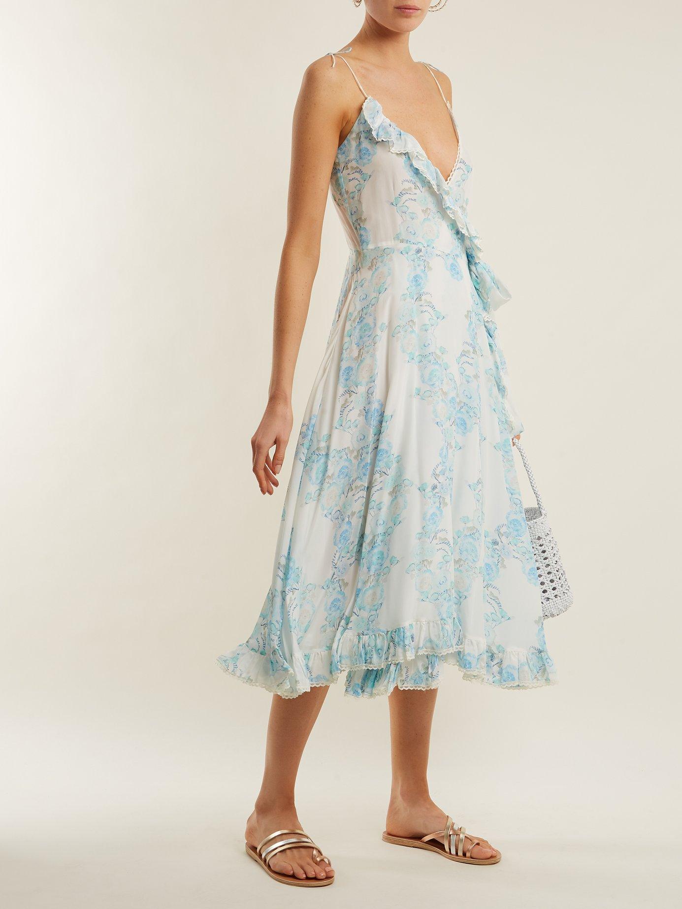 Walking On A Dream floral-print silk wrap dress by Athena Procopiou