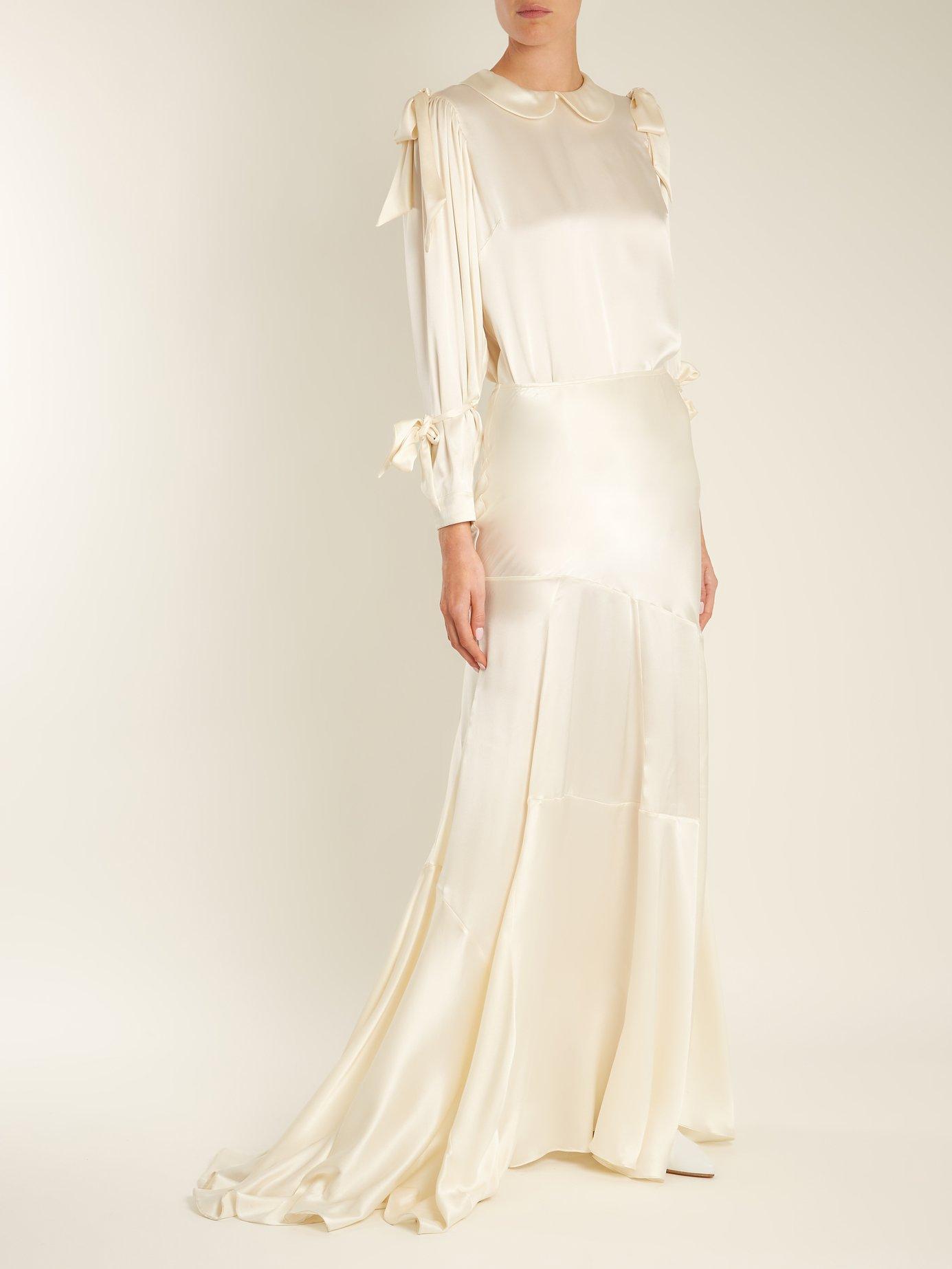 Bow-tied satin blouse by Simone Rocha