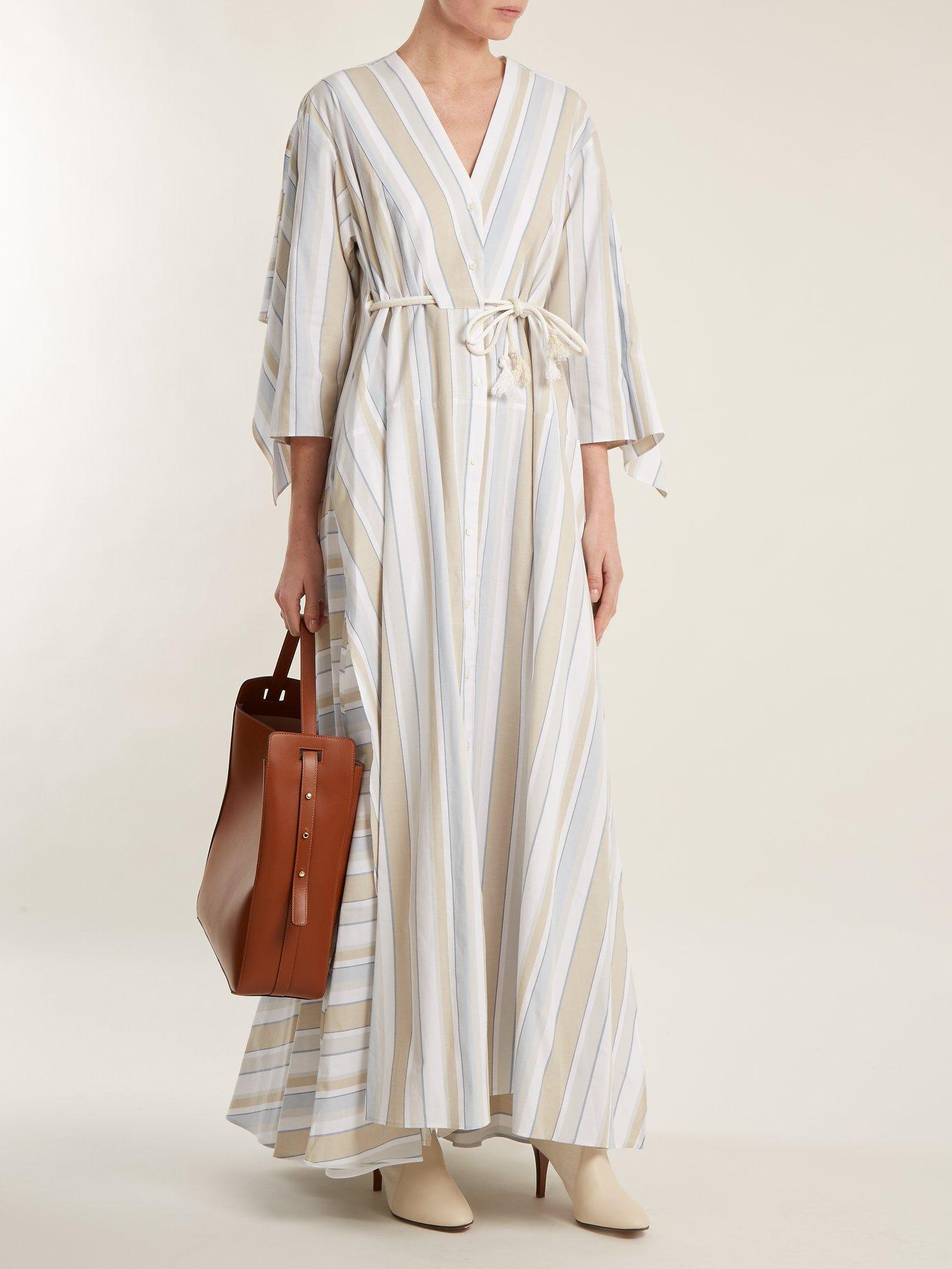 Striped drawstring-waist cotton-blend maxi dress by Palmer/Harding