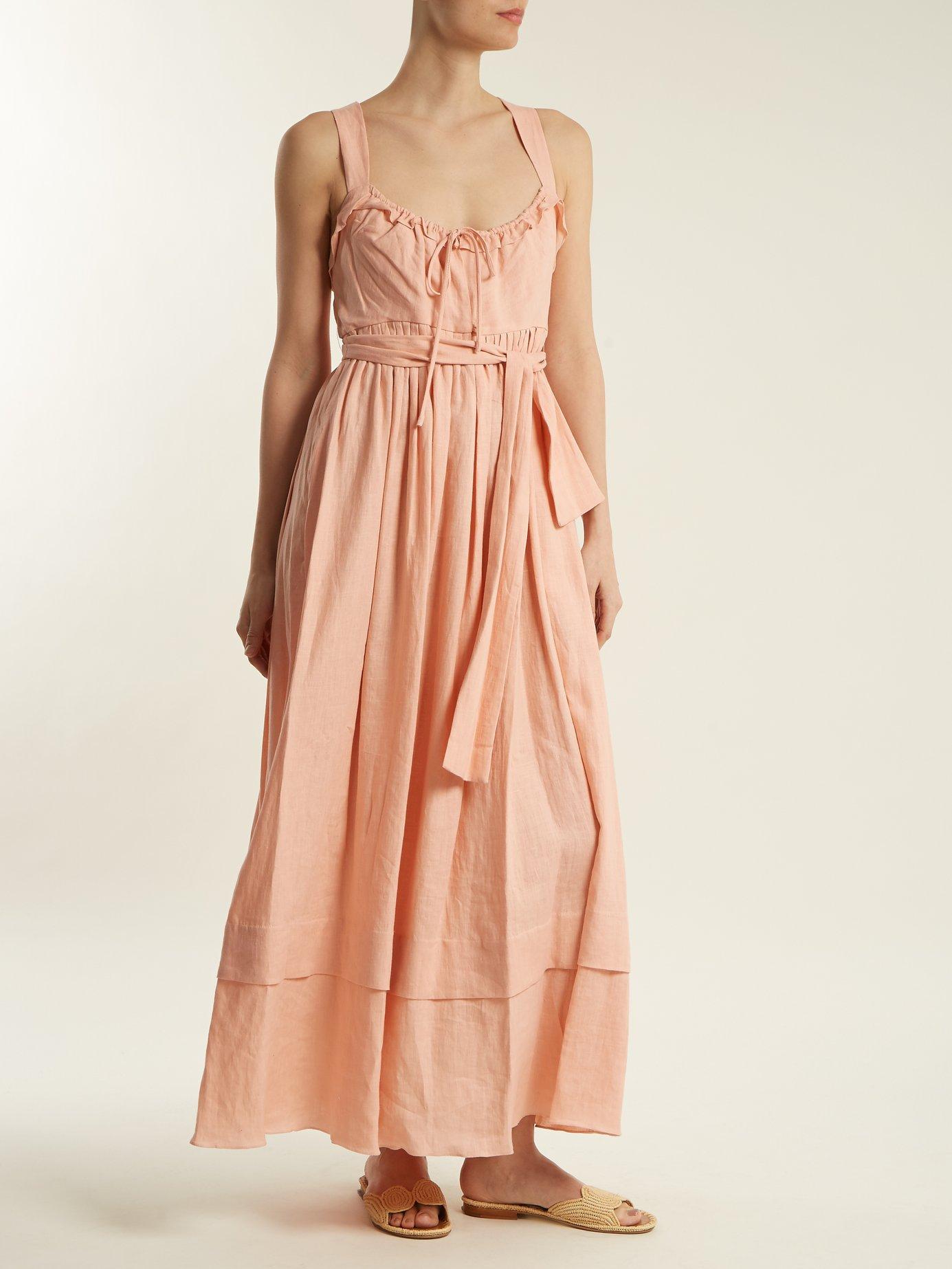 Joan tie-waist linen dress by Three Graces London