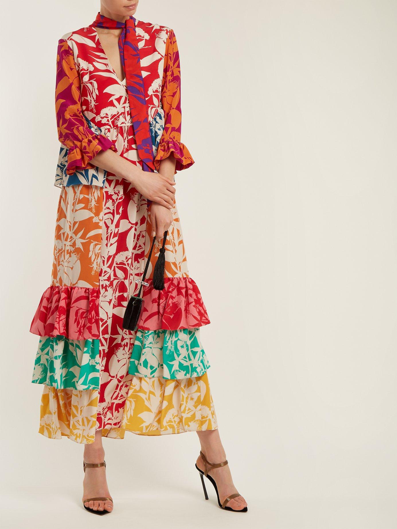 Aude floral-print ruffle silk dress by Borgo De Nor