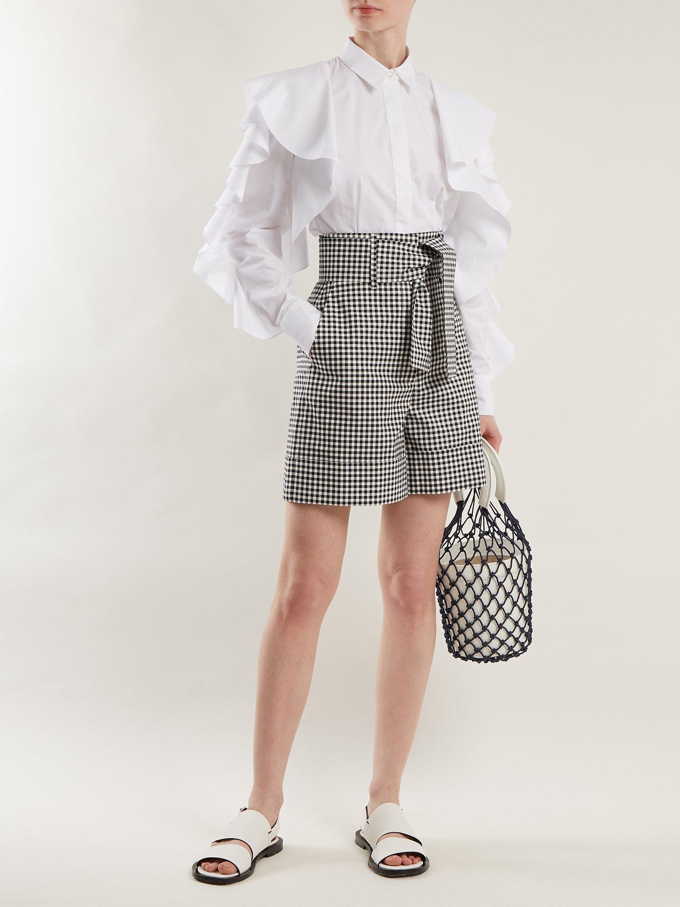 Ruffled cotton-poplin shirt by Sara Battaglia