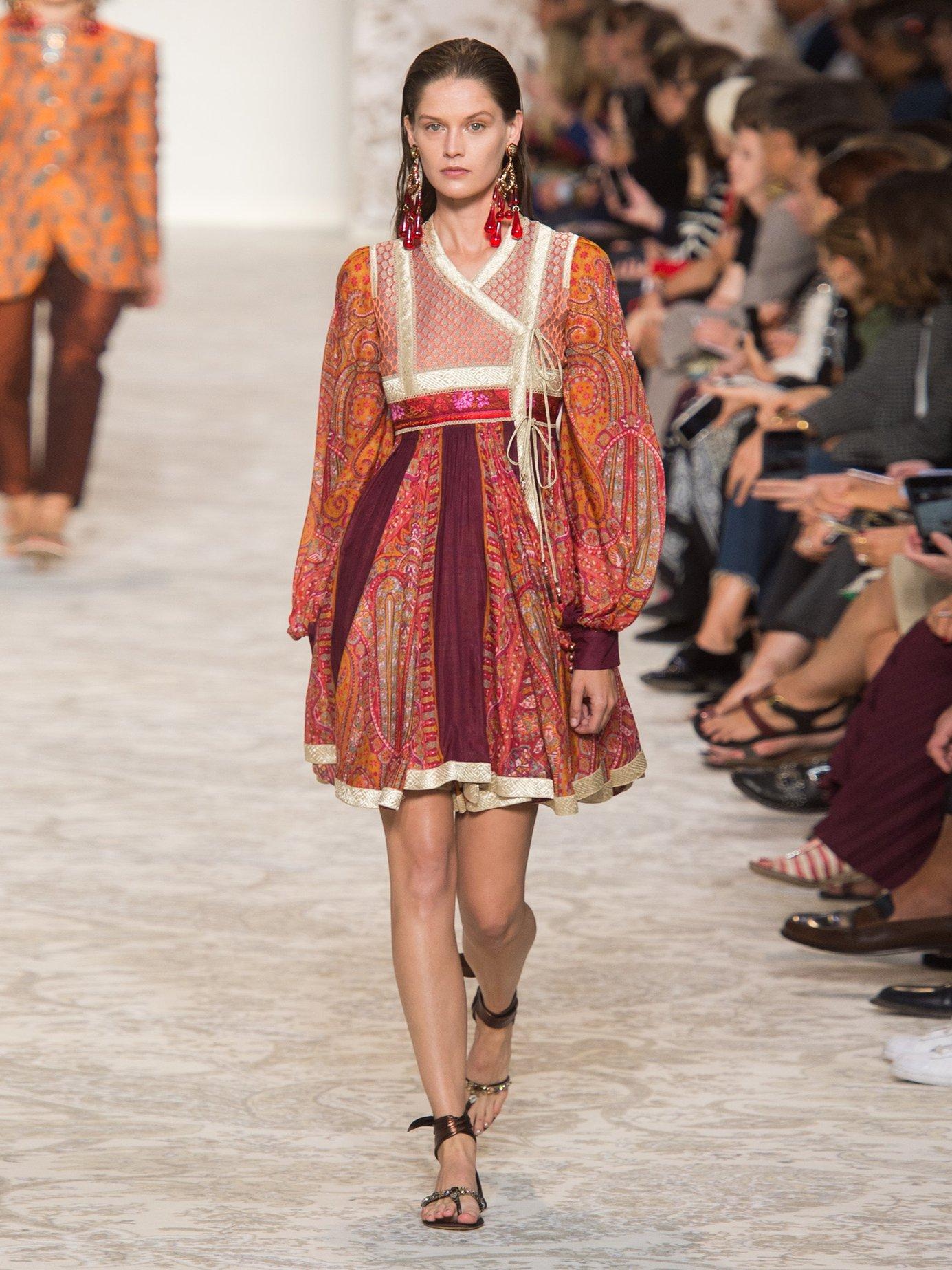 Bangalore paisley-print cotton-blend wrap dress by Etro