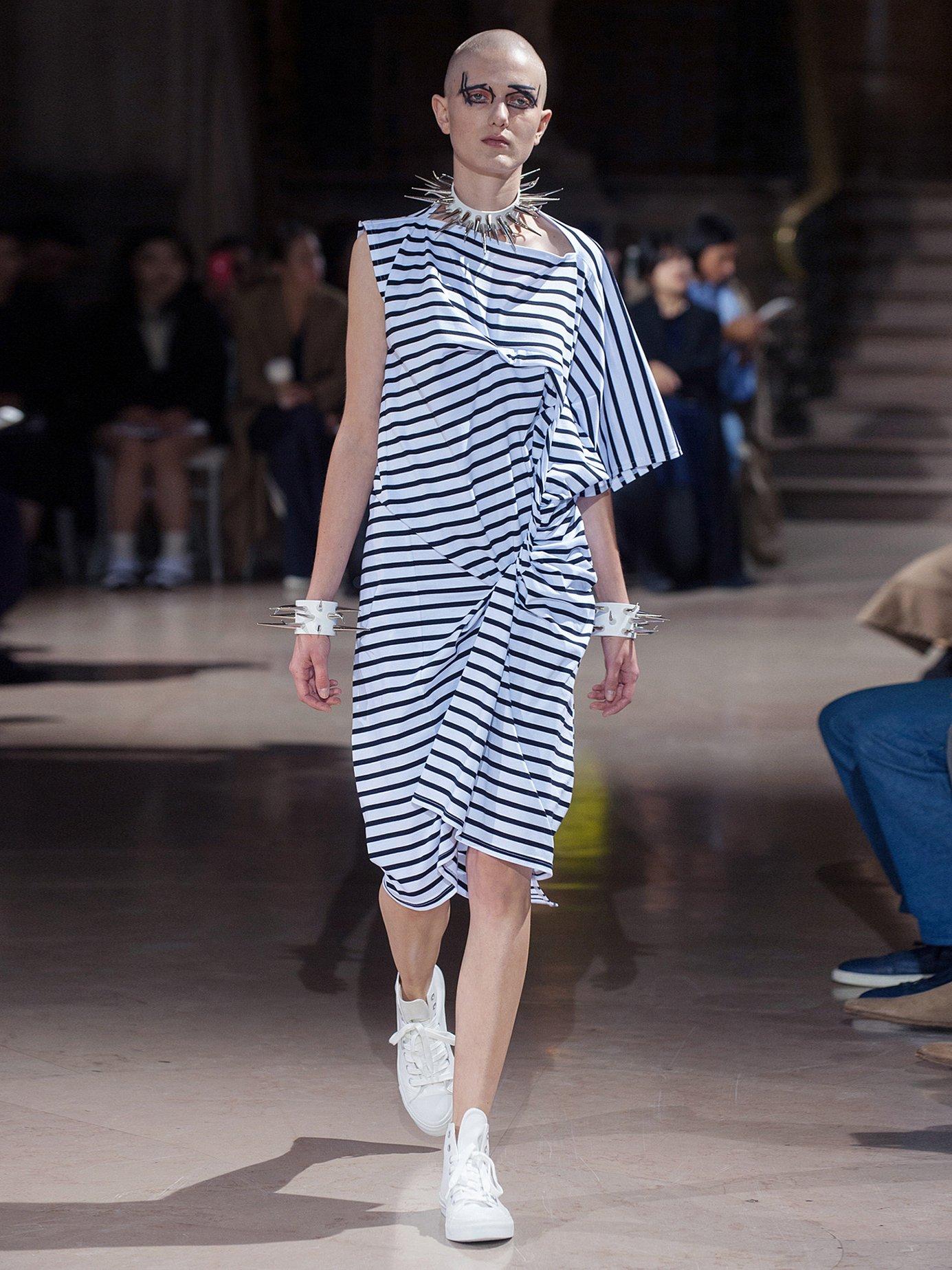 Striped asymmetric gathered cotton-jersey dress by Junya Watanabe