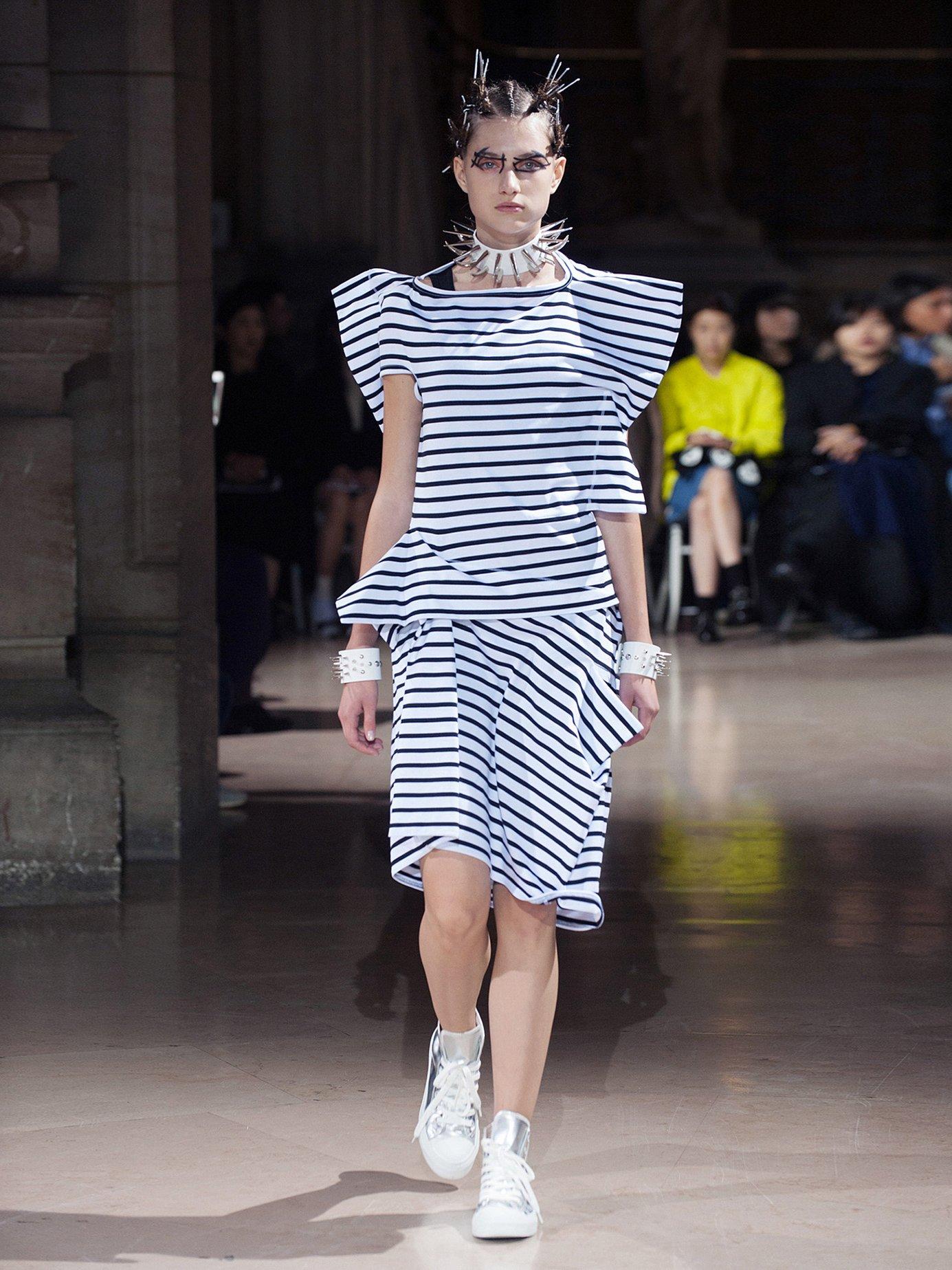 Striped asymmetric cotton-jersey dress by Junya Watanabe
