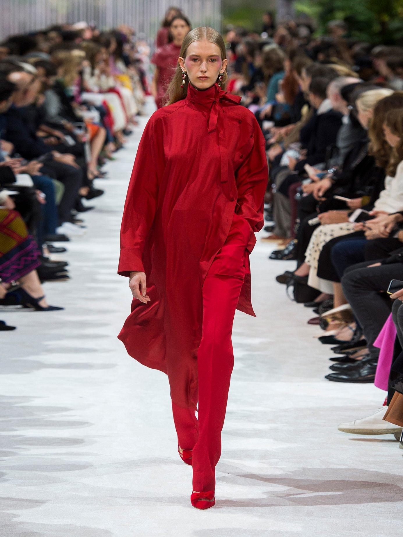 Tie-neck asymmetric silk dress by Valentino