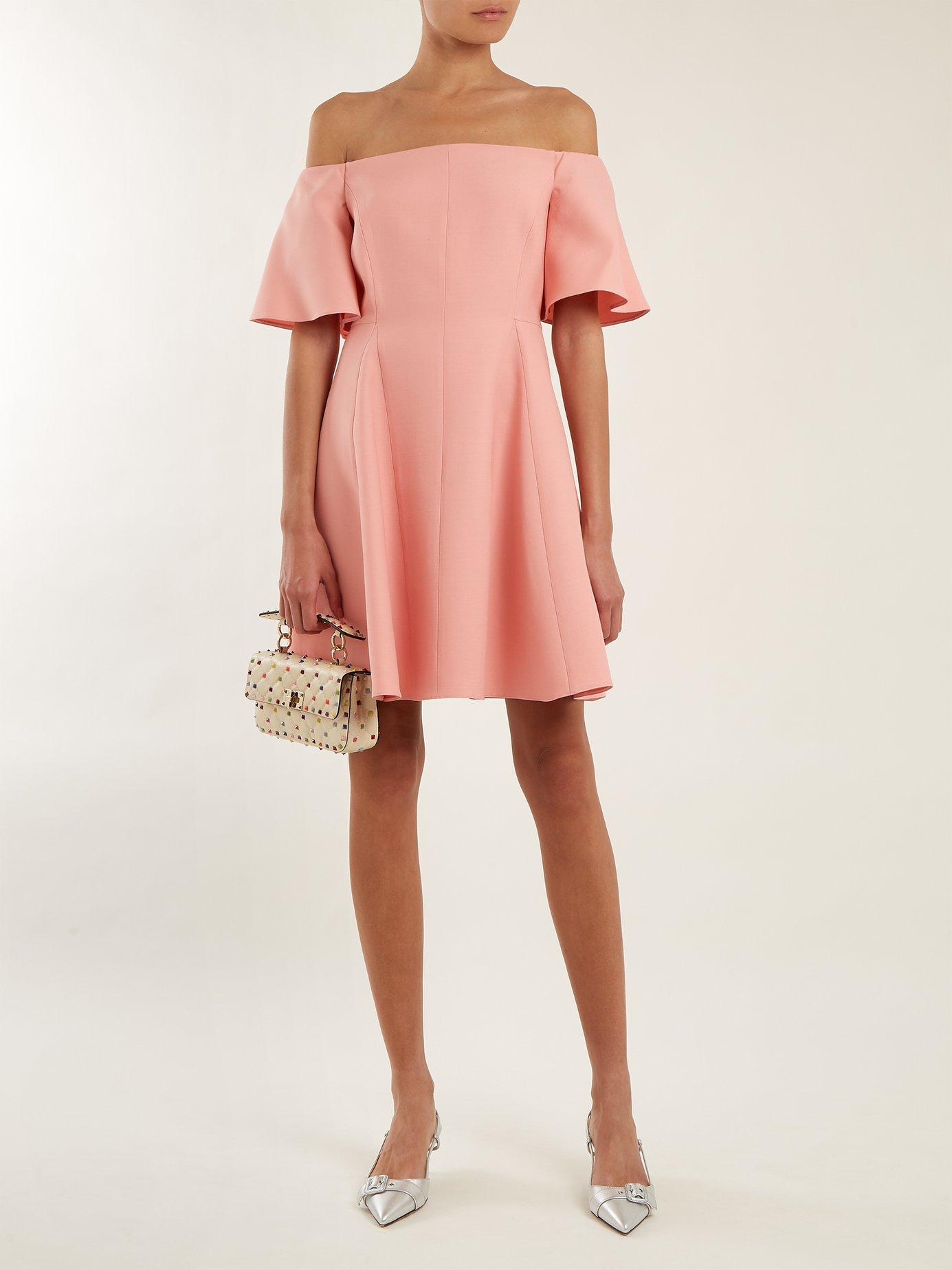 Off-shoulder silk-crepe dress by Valentino
