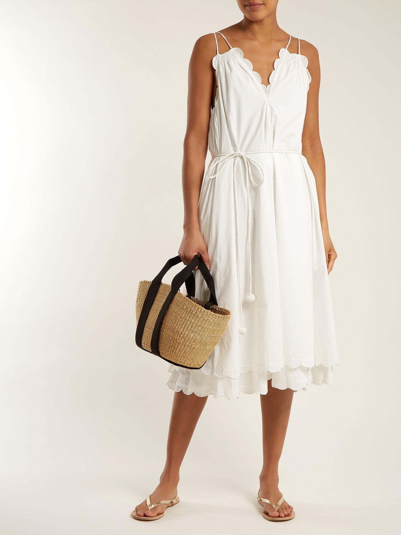 Mirage scalloped cotton-poplin dress by Apiece Apart