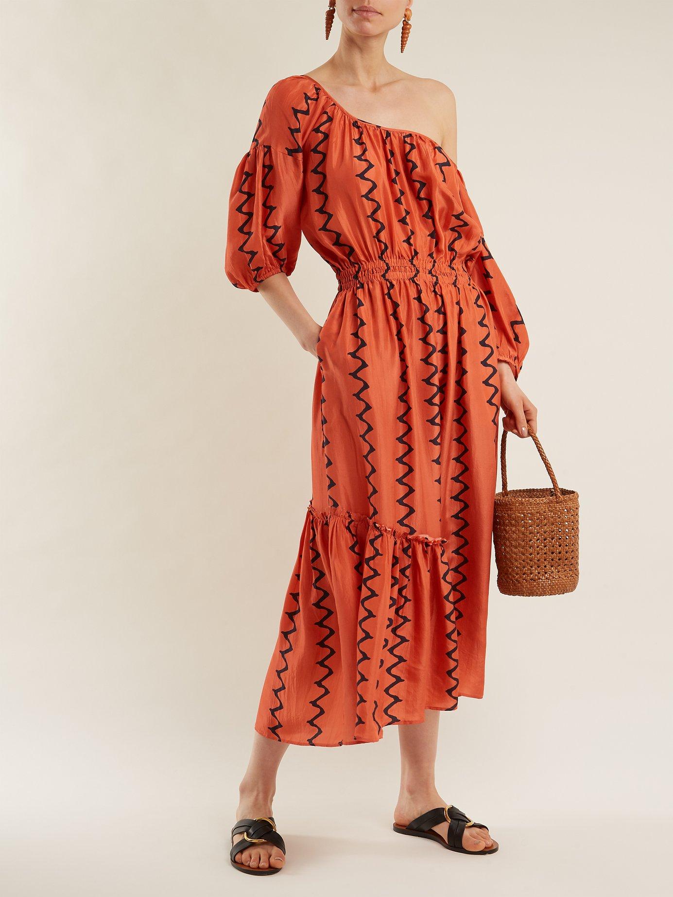 Camelia one-shoulder silk dress by Apiece Apart