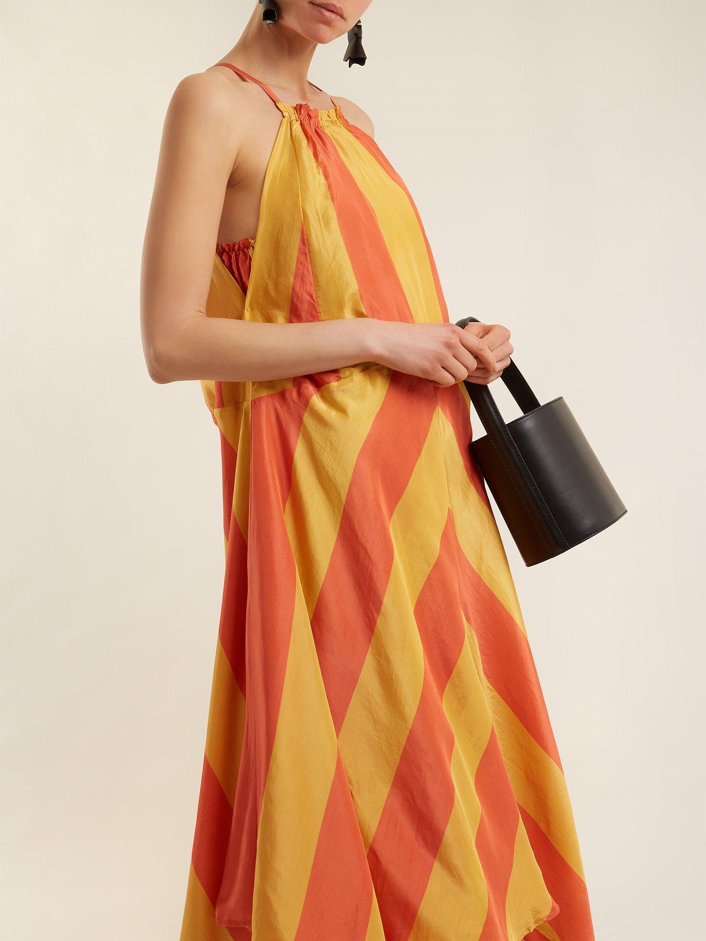 Timia striped halterneck dress by Apiece Apart