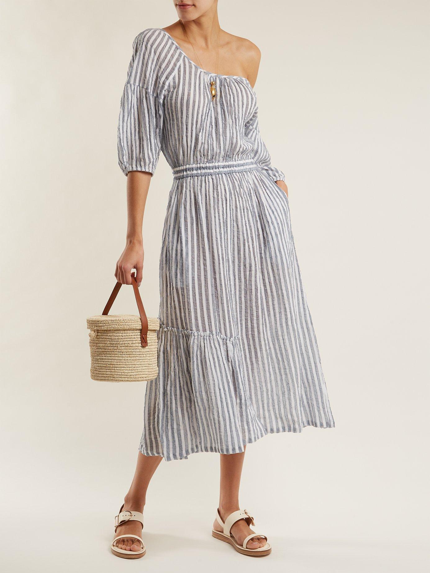 Camellia one-shoulder striped-cotton dress by Apiece Apart