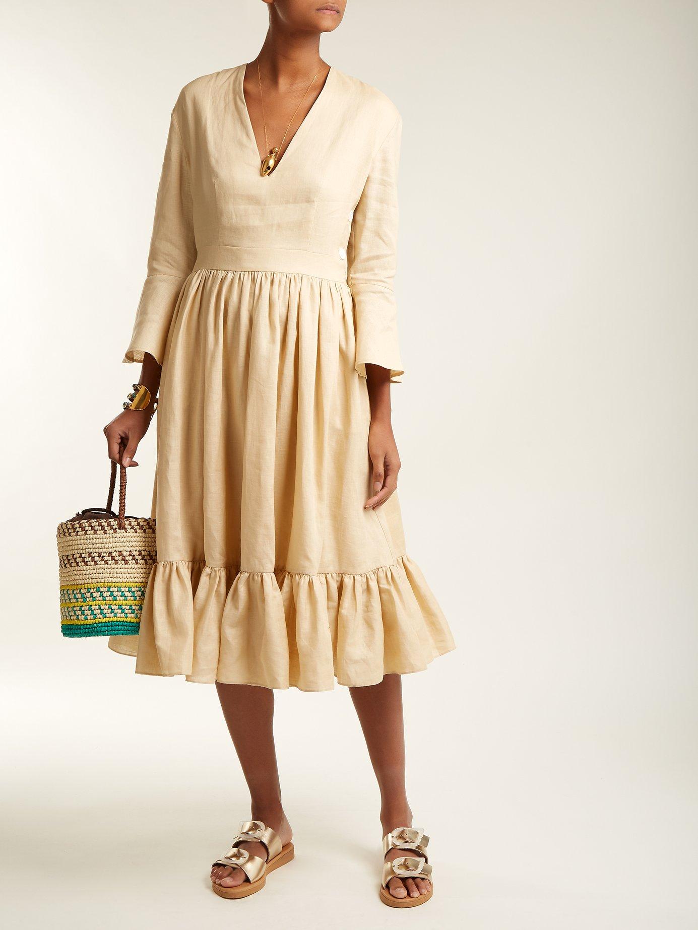 Sea Island bell-sleeve linen dress by Loup Charmant