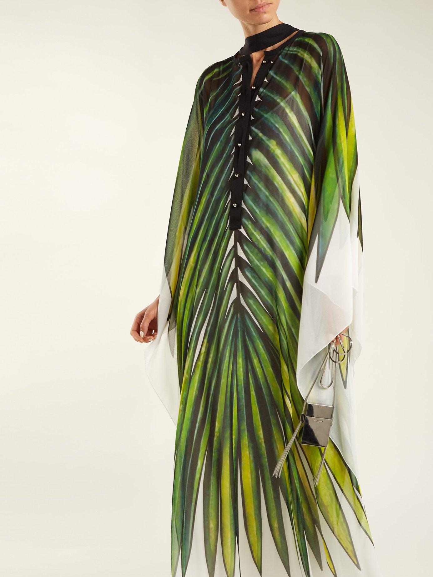 Palm-print crepe kaftan by Elie Saab