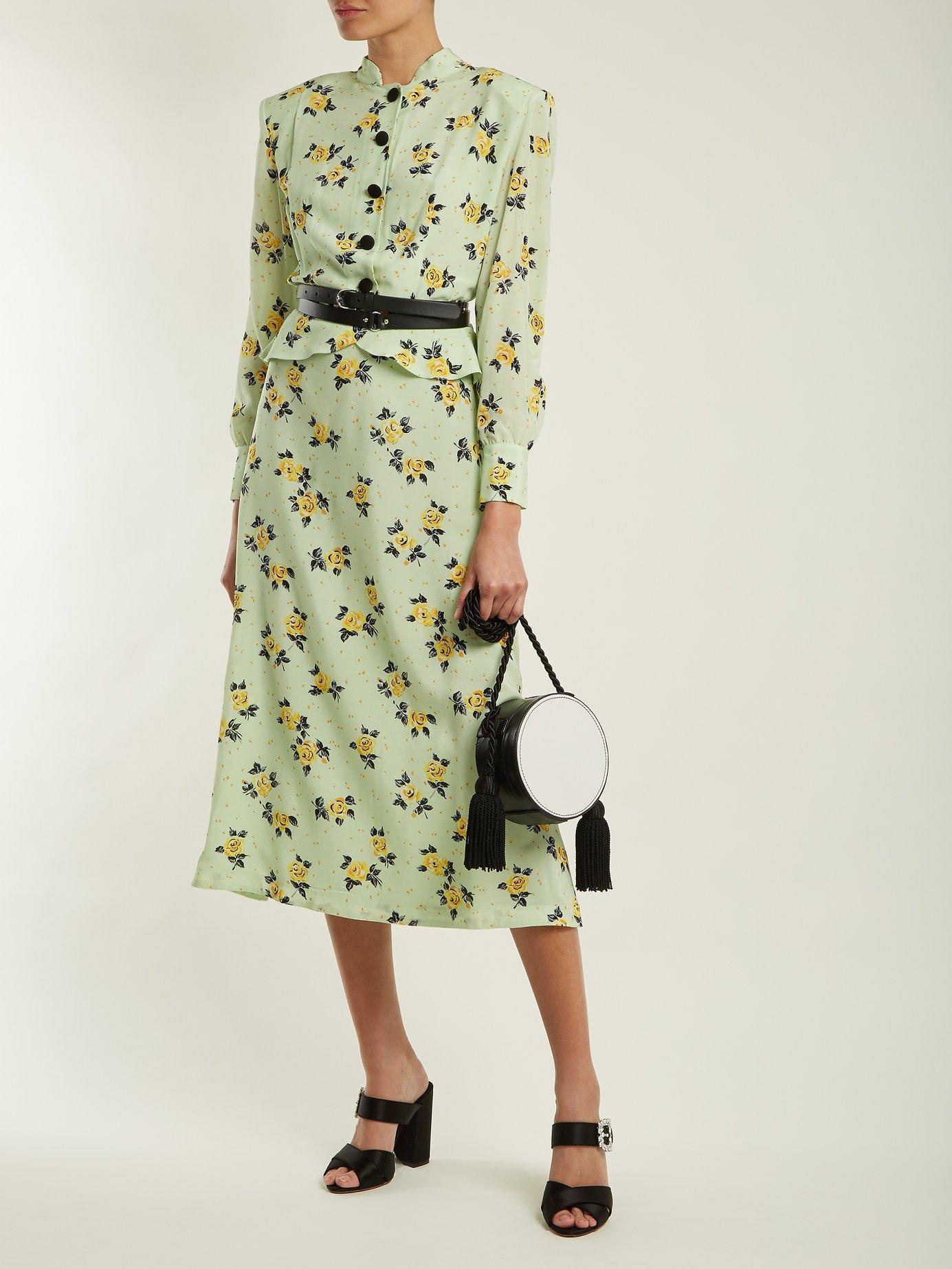 Rose-print peplum silk dress by Alessandra Rich