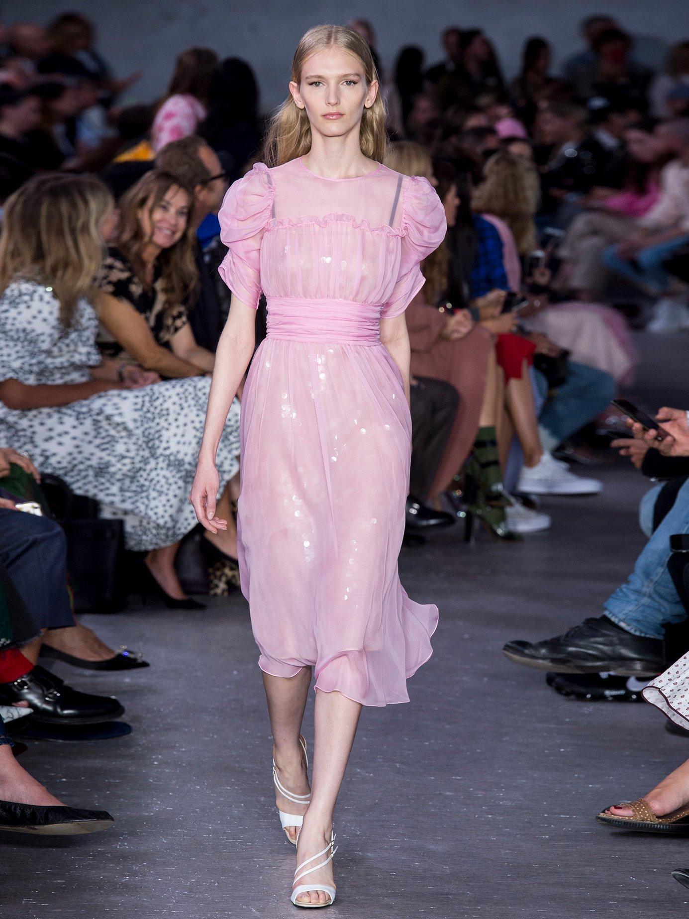 Gathered-sleeve silk-chiffon dress by No. 21