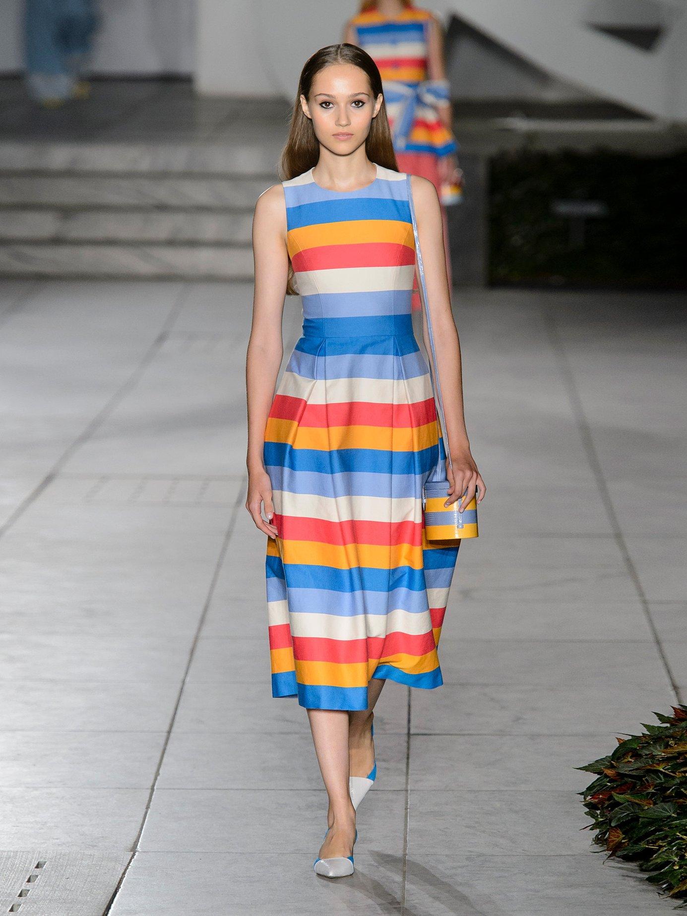 Multicoloured striped cotton-blend dress by Carolina Herrera