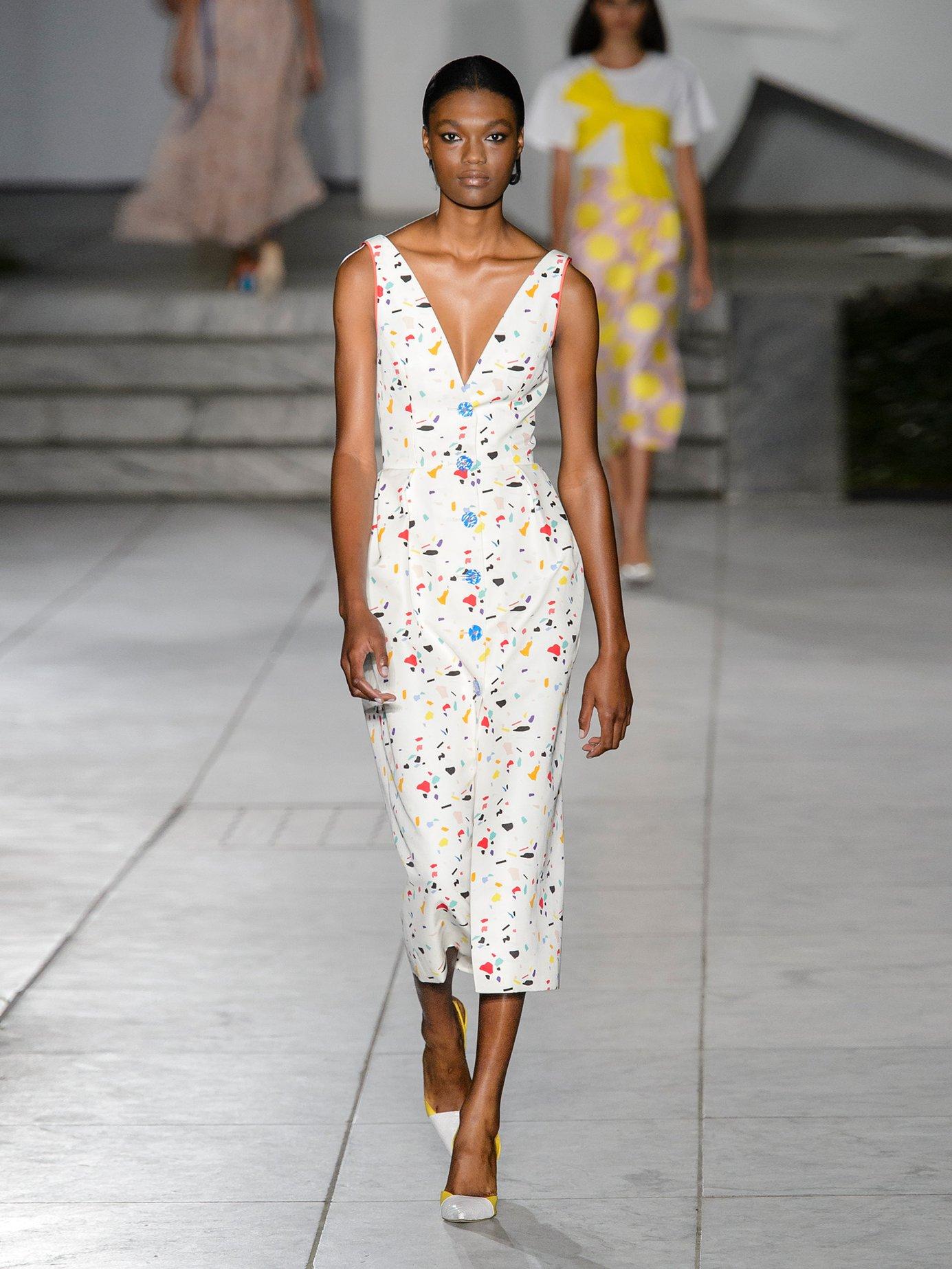 Terazzo-print V-neck cotton-blend faille dress by Carolina Herrera