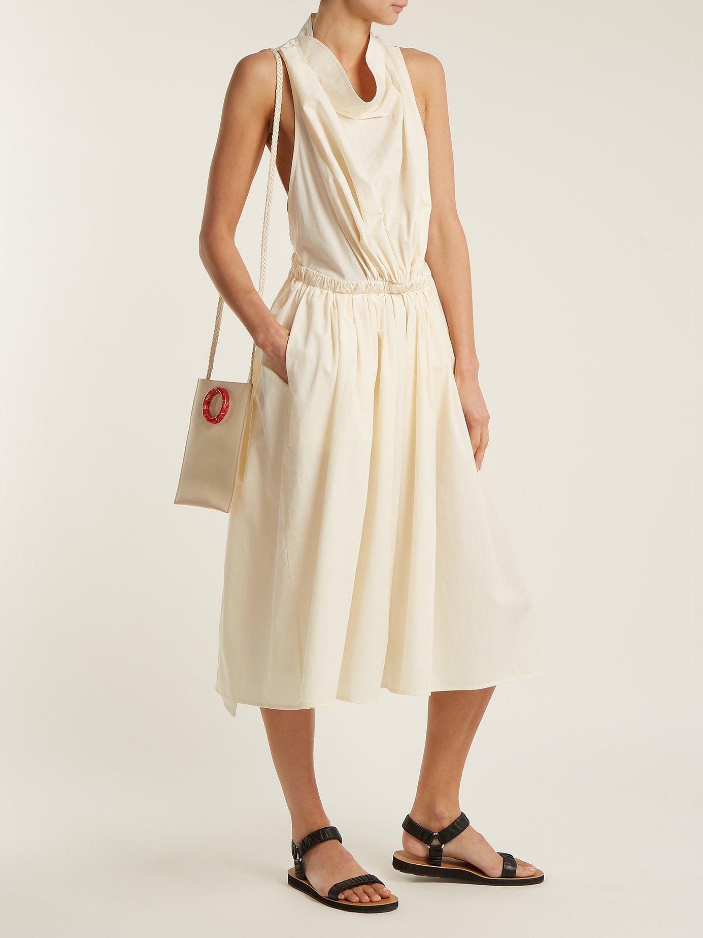 Draped-neck cotton-poplin dress by Lemaire