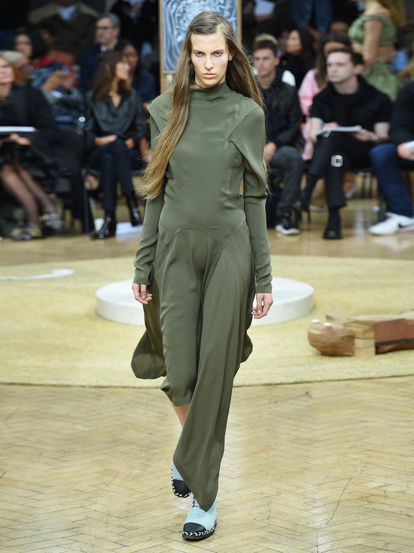 Draped asymmetric high-neck silk dress by Jw Anderson