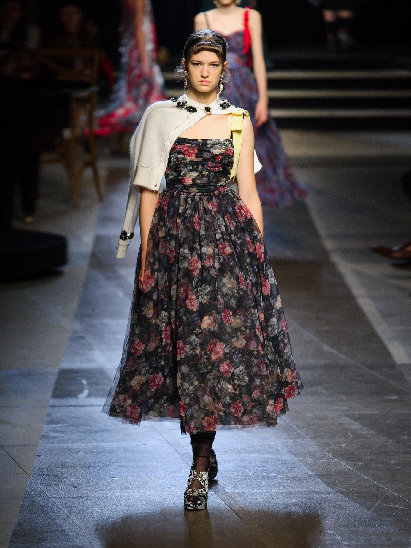 Koni Elizabeth Garden-print tulle dress by Erdem