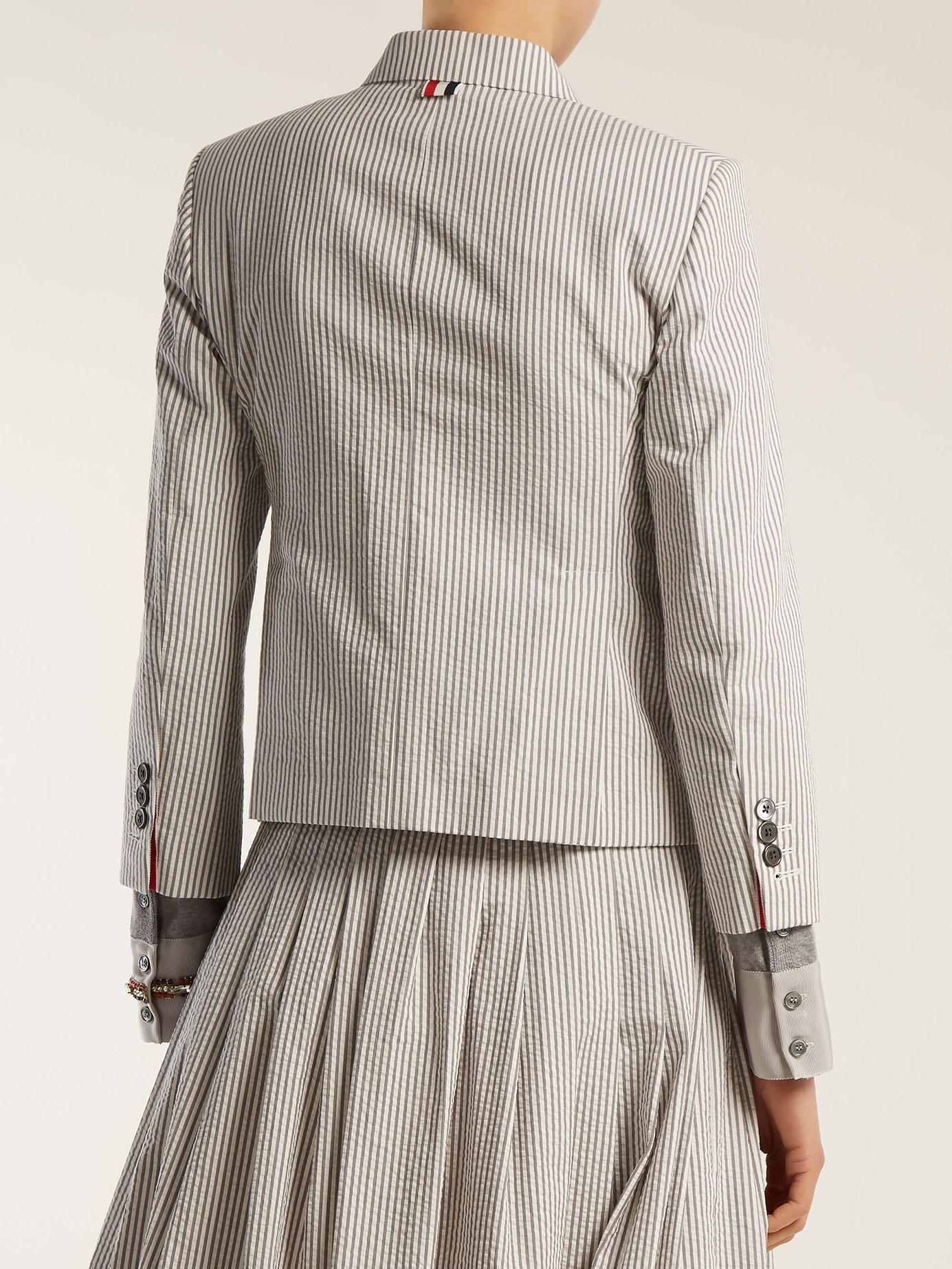 Striped seersucker blazer by Thom Browne