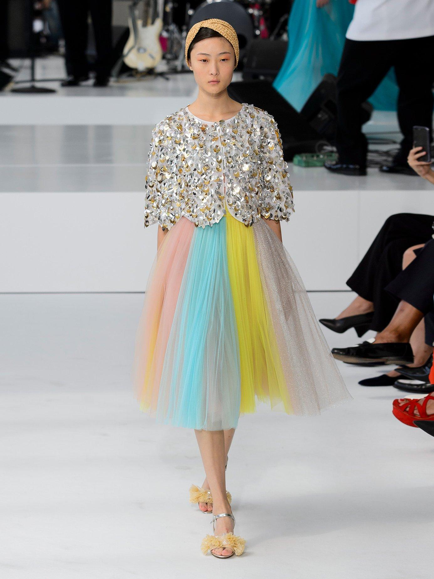 Multicoloured-striped tulle dress by Delpozo