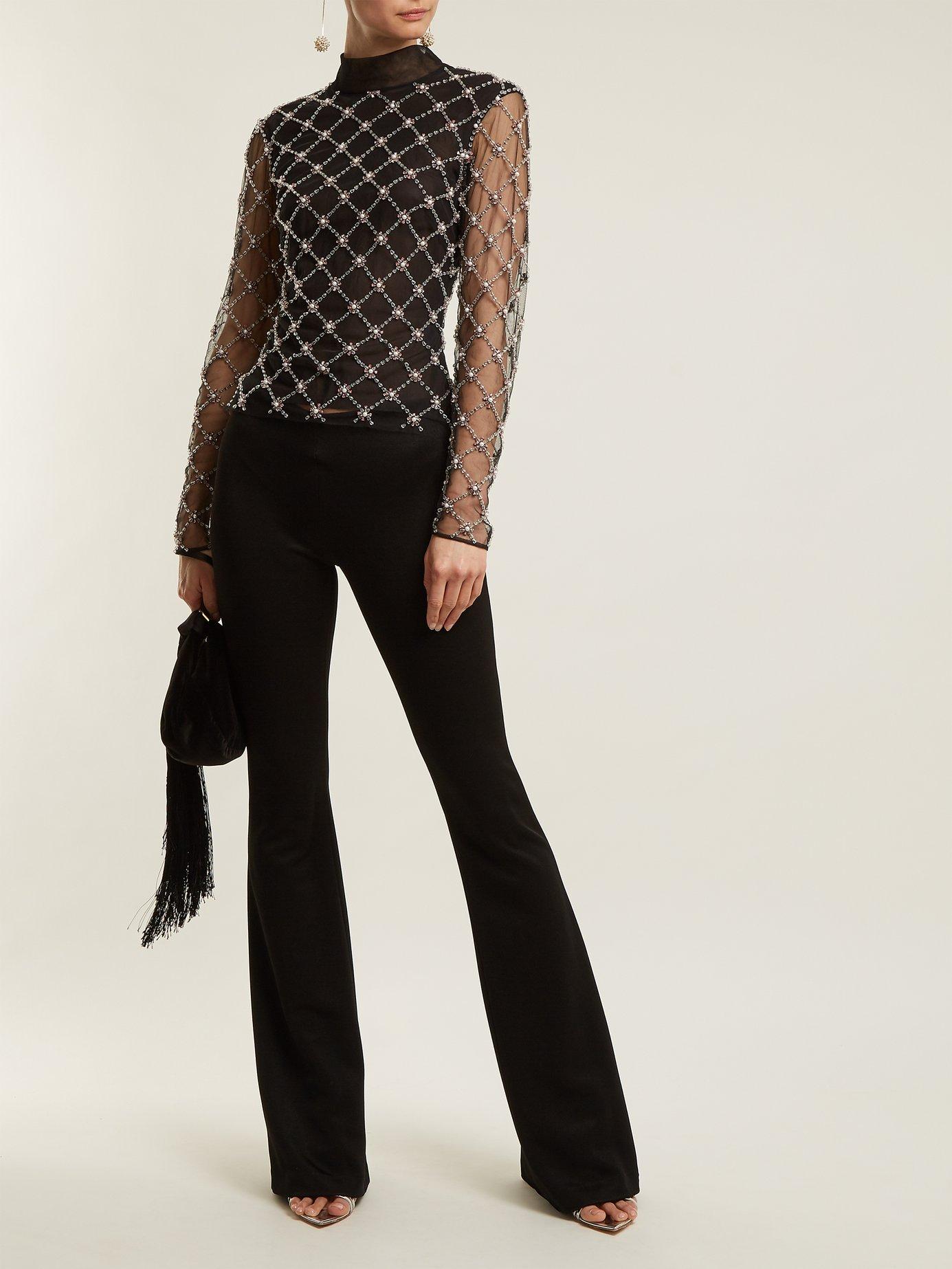 Verena embellished high-neck tulle top by Osman