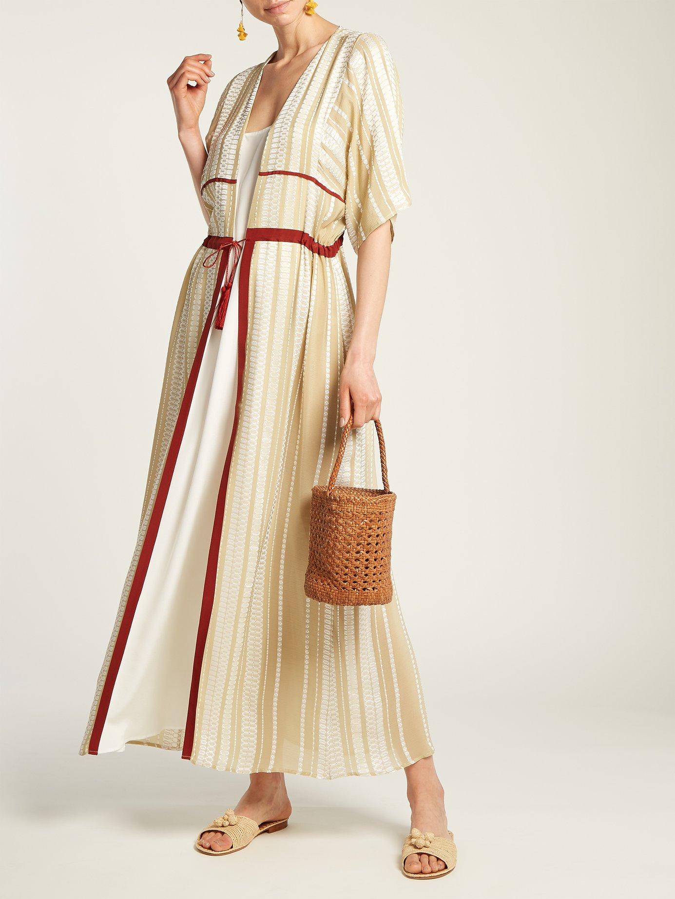 Chora striped silk-blend dress by Zeus + Dione