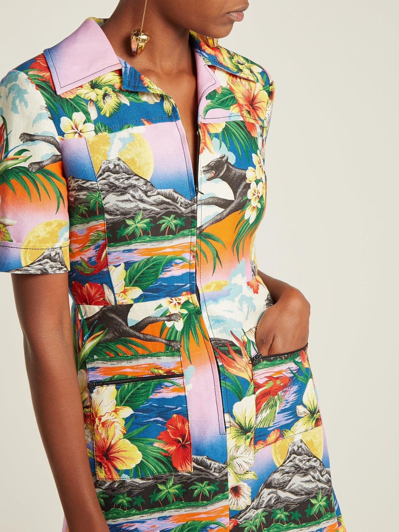 Hawaiian-print collared linen midi-dress by Gucci