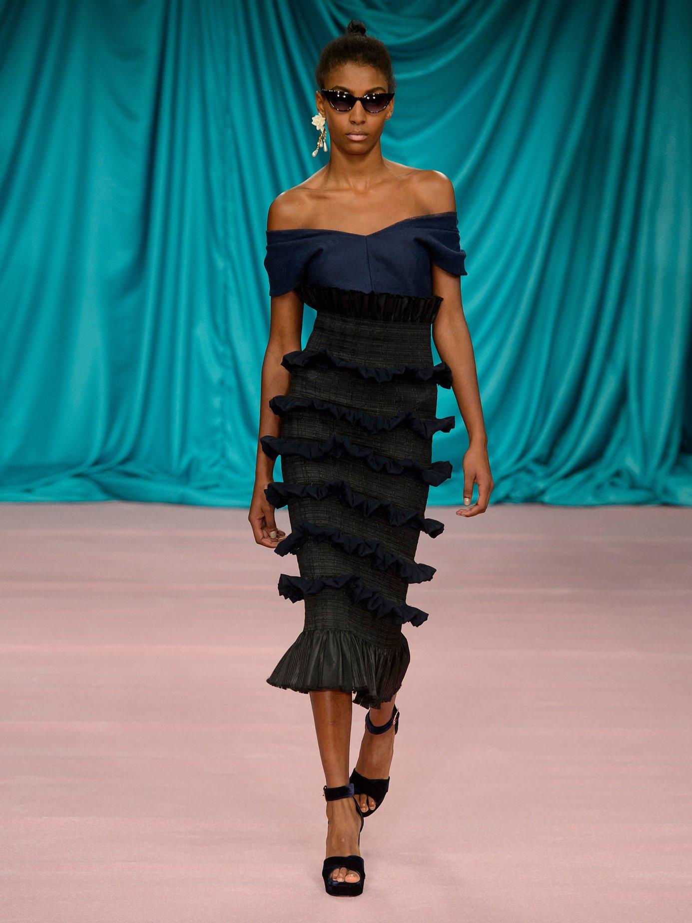 Tamara contrast-panel ruffled silk dress by Emilio De La Morena