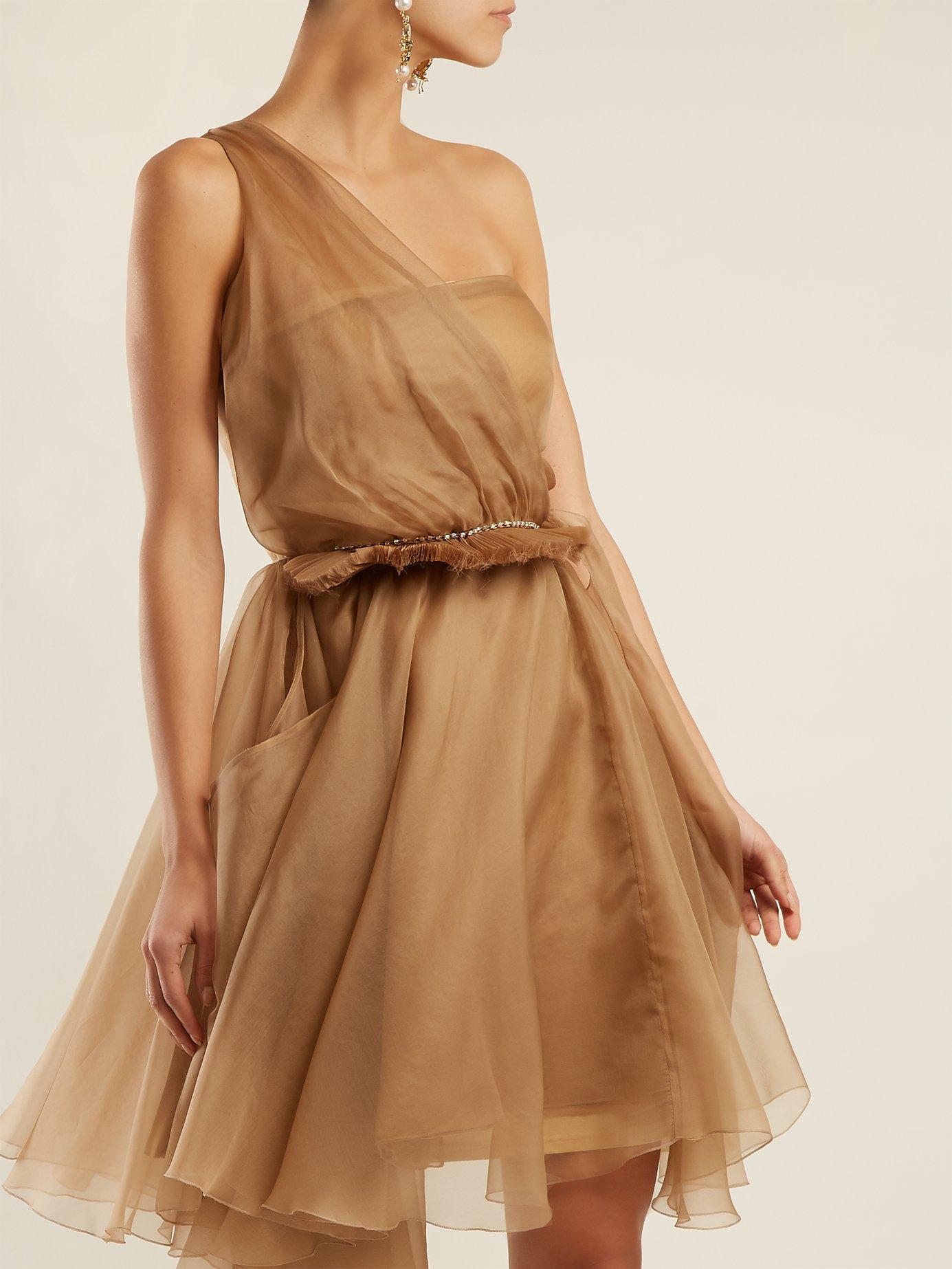 Dominique one-shoulder silk dress by Preen By Thornton Bregazzi